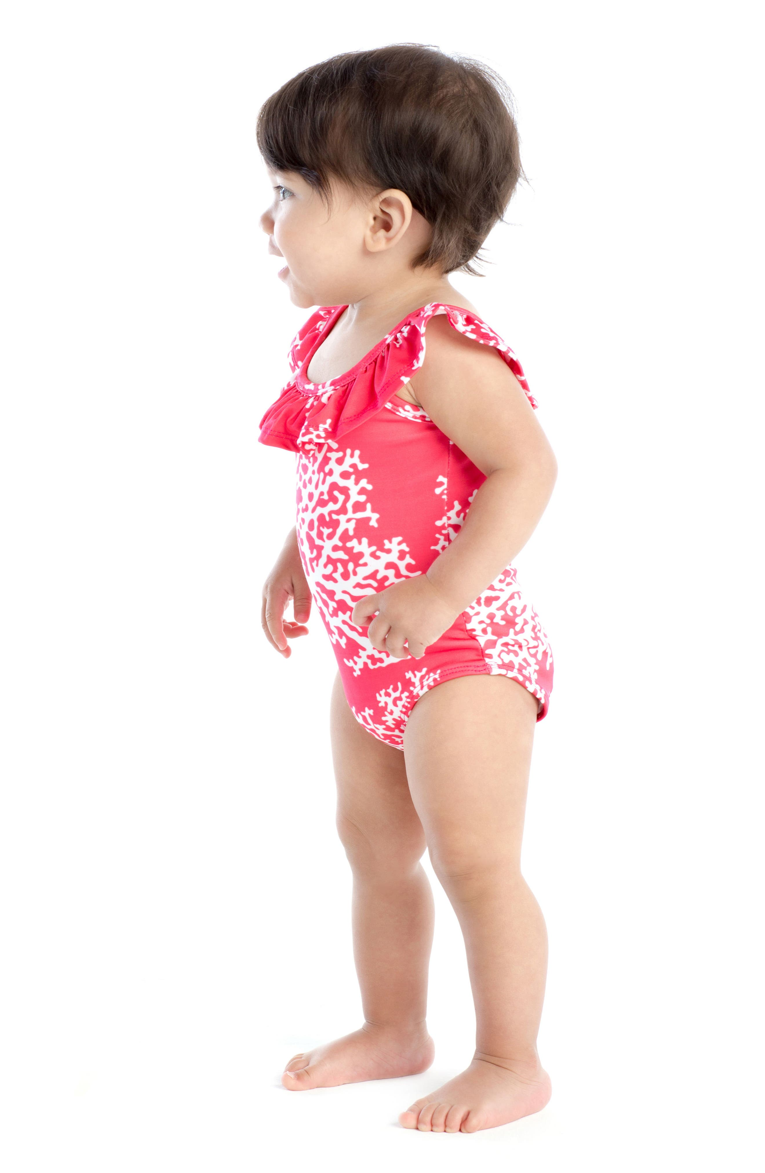 Alternate Image 2  - Masala Baby Flounce One-Piece Swimsuit (Baby Girls)