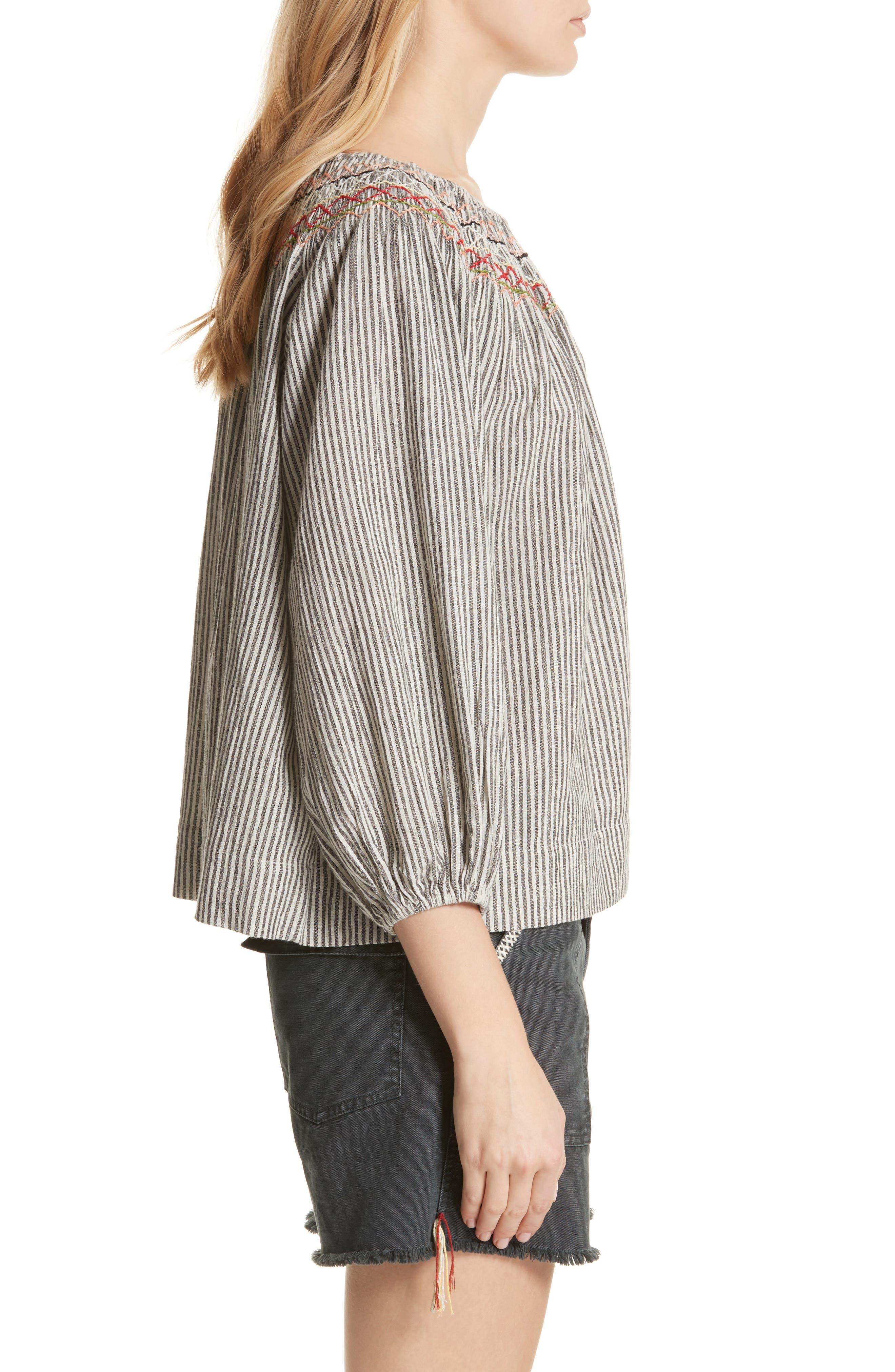 The Vista Cotton & Linen Top,                             Alternate thumbnail 3, color,                             Rail Stripe