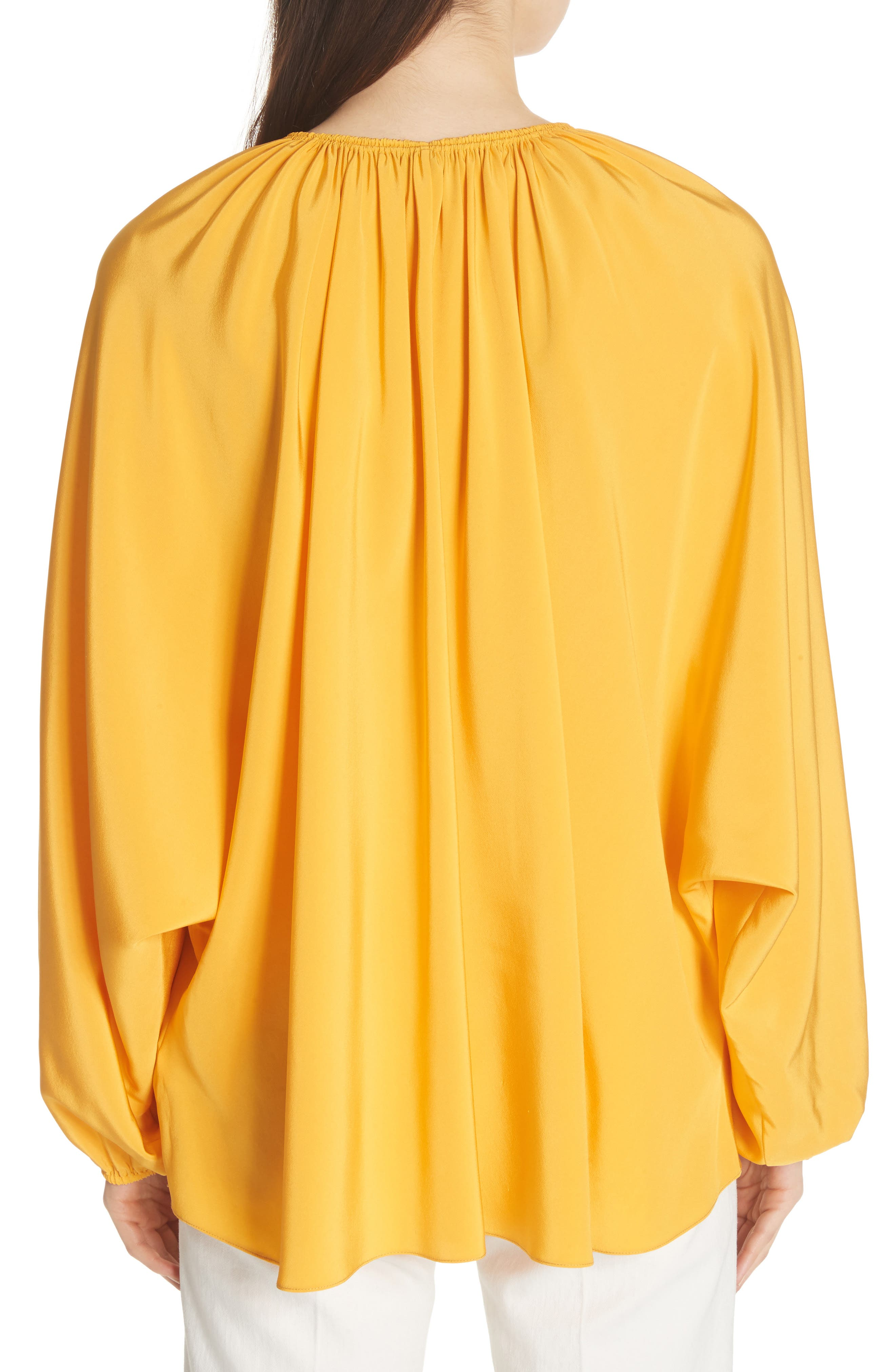 Chance Tie Neck Silk Top,                             Alternate thumbnail 2, color,                             Saffron