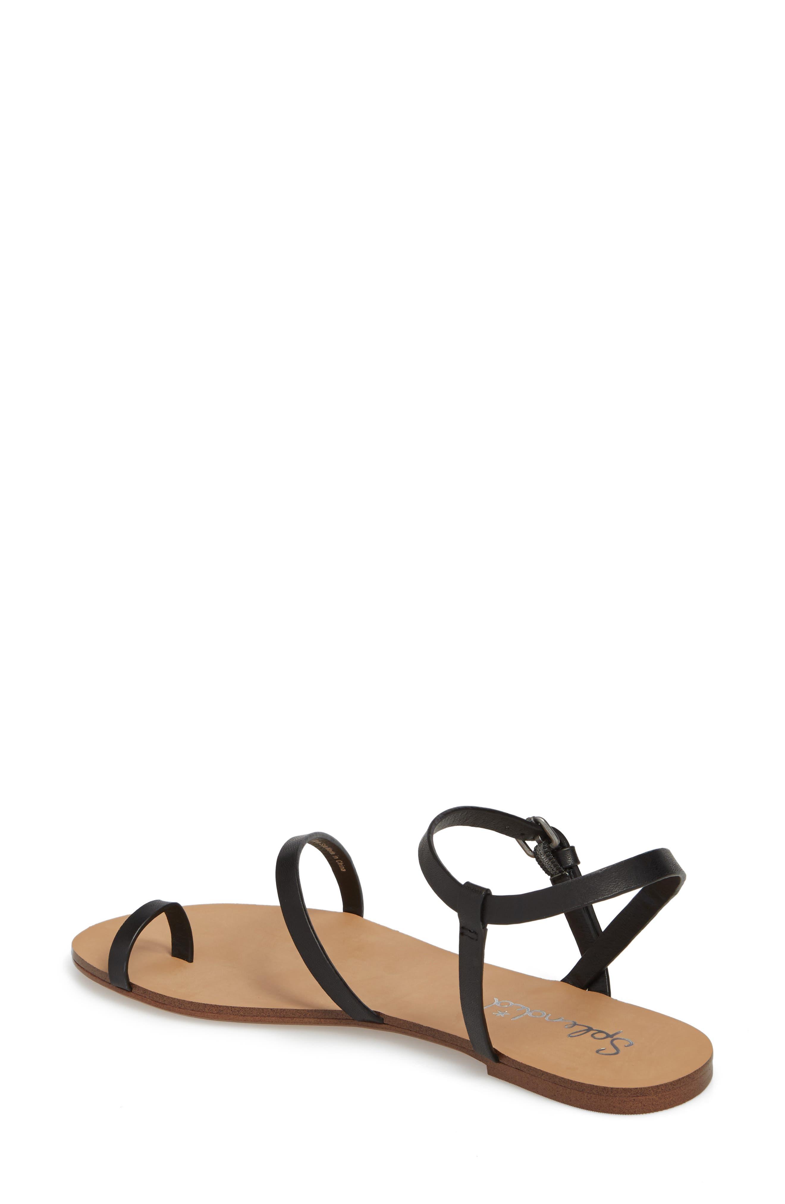 Flower Sandal,                             Alternate thumbnail 2, color,                             Black Leather
