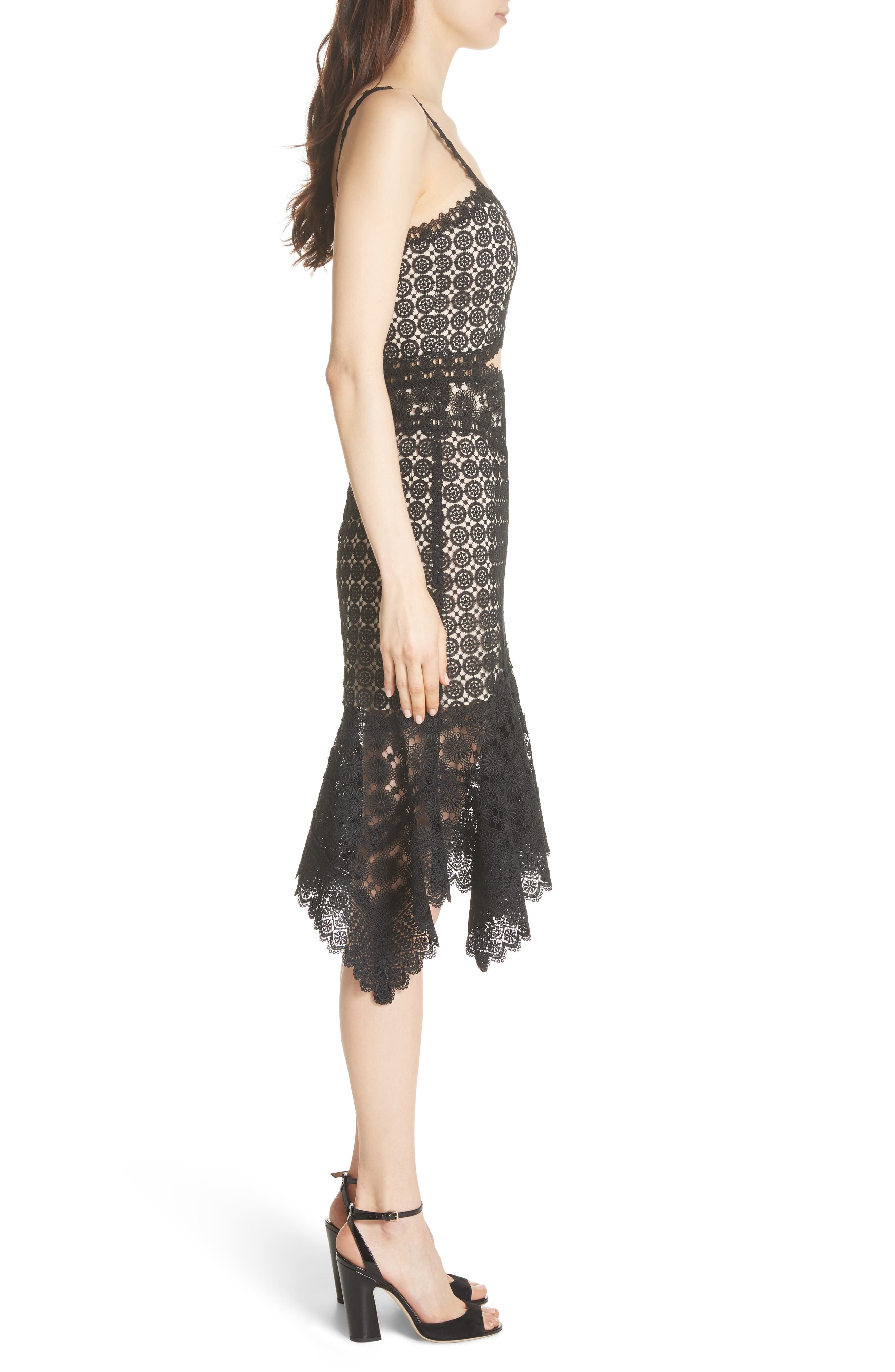 Tamika Handkerchief Lace Dress,                             Alternate thumbnail 3, color,                             Black/ Sesame