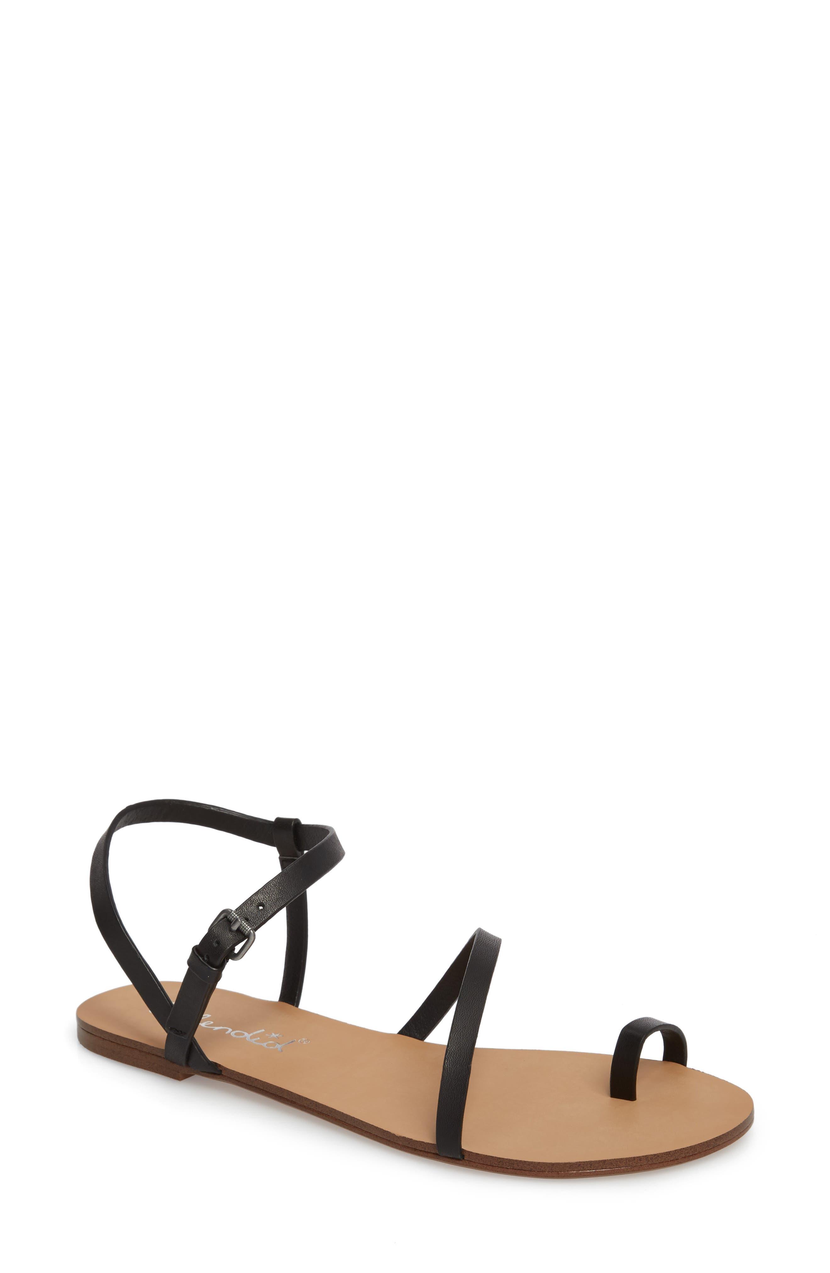 Flower Sandal,                         Main,                         color, Black Leather