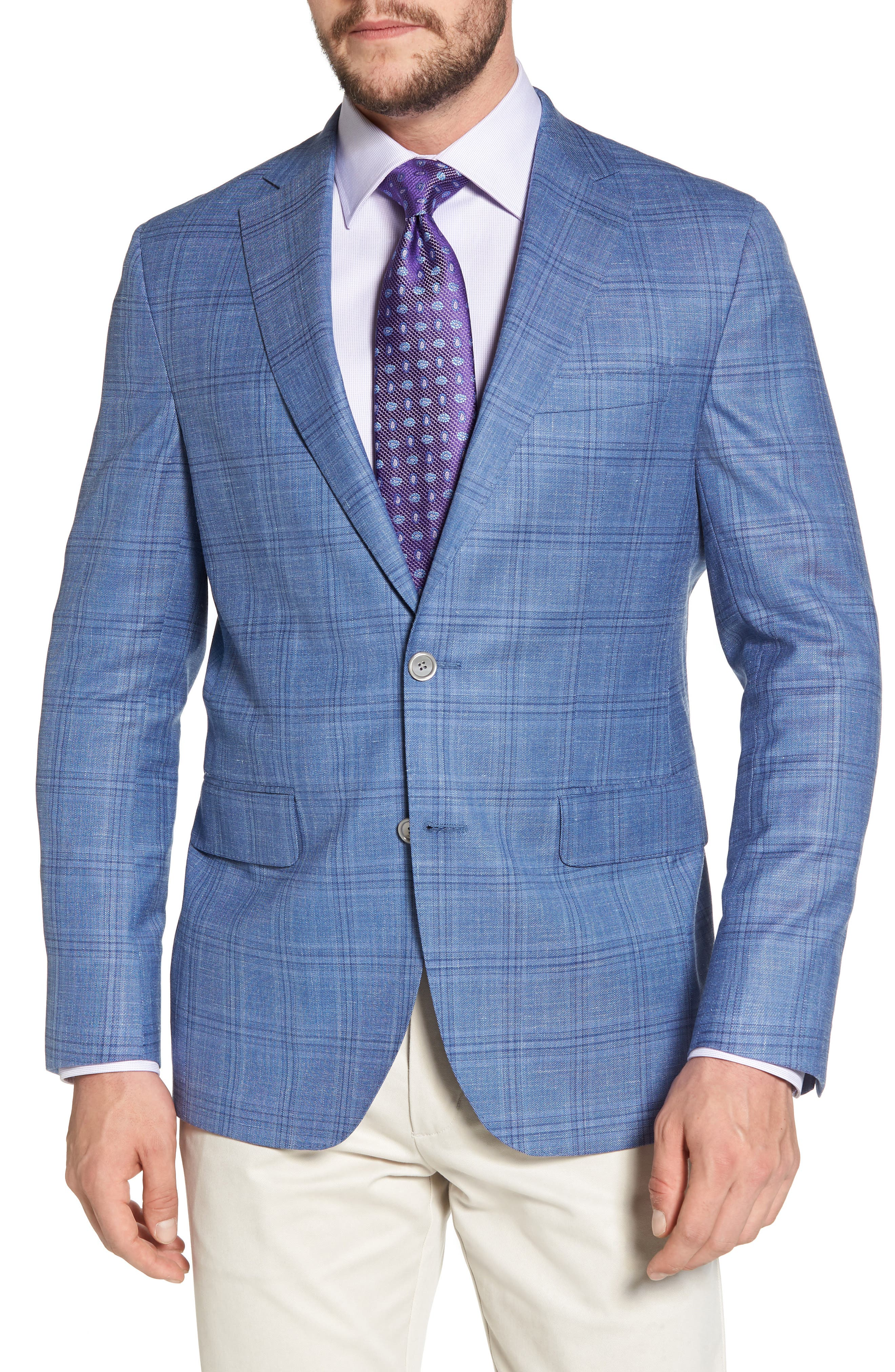 Arnold Classic Fit Plaid Wool Blend Sport Coat,                             Main thumbnail 1, color,                             Blue