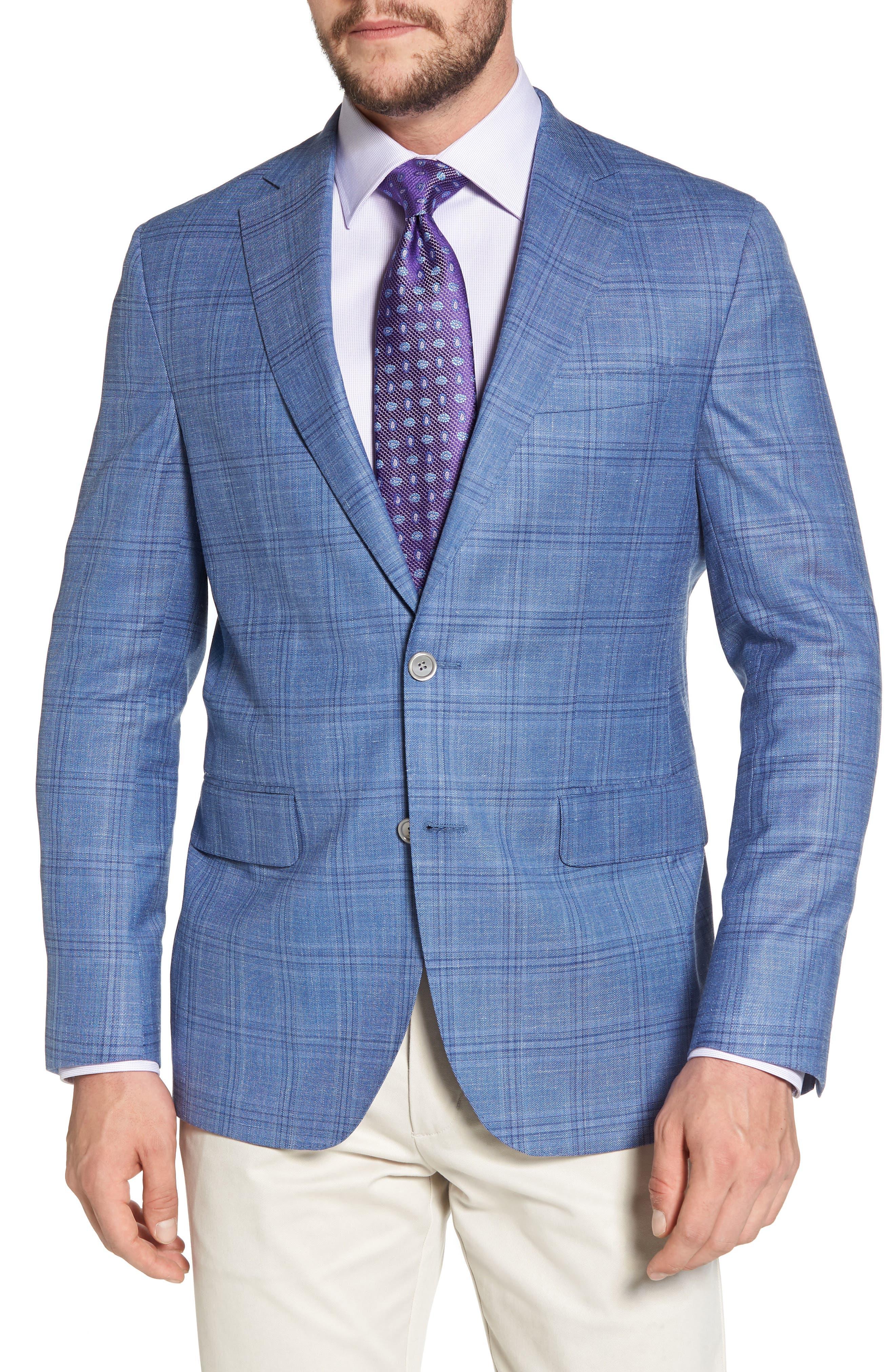 Arnold Classic Fit Plaid Wool Blend Sport Coat,                         Main,                         color, Blue