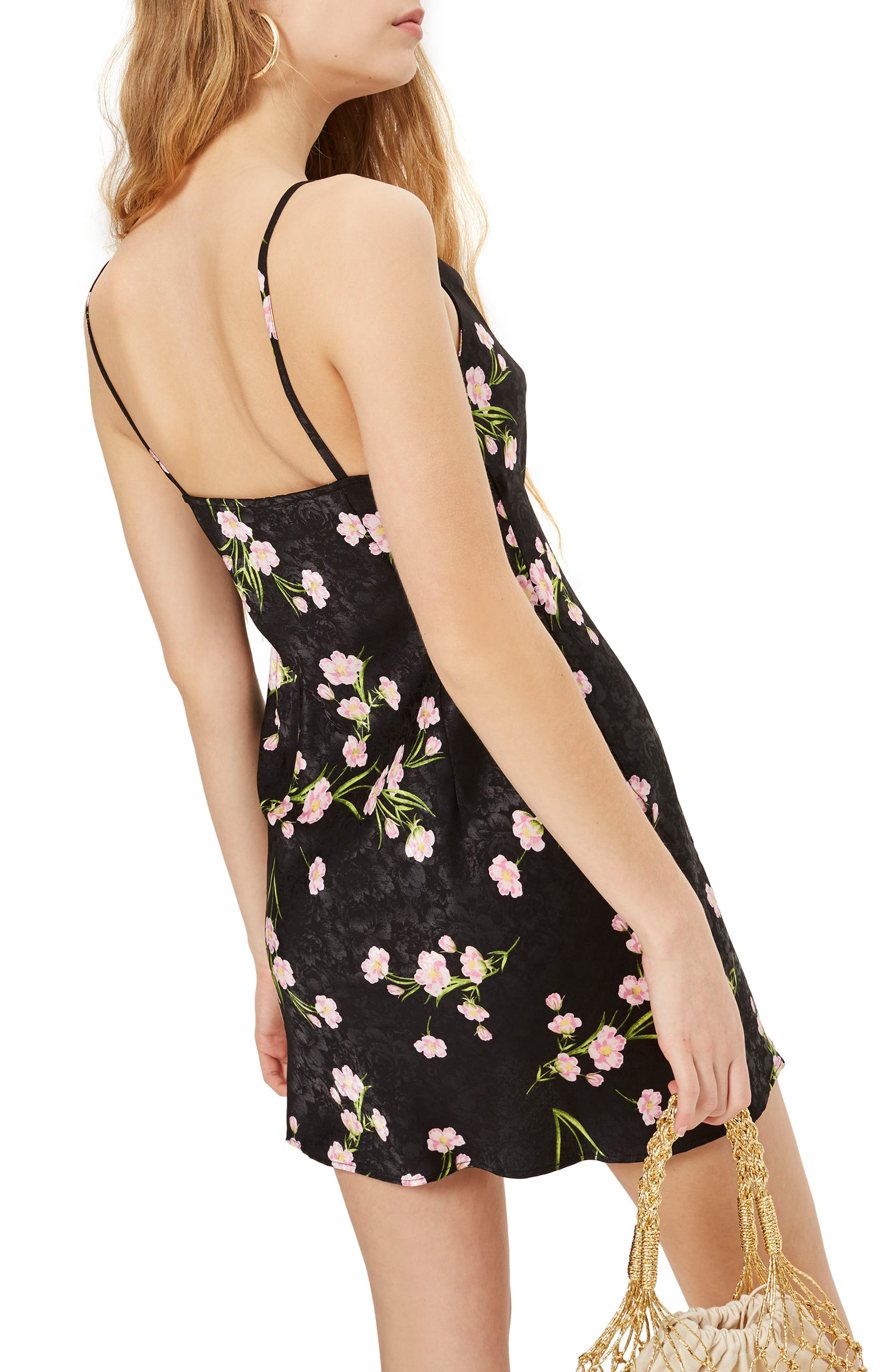 Floral Cowl Neck Slipdress,                             Alternate thumbnail 3, color,                             Black Multi