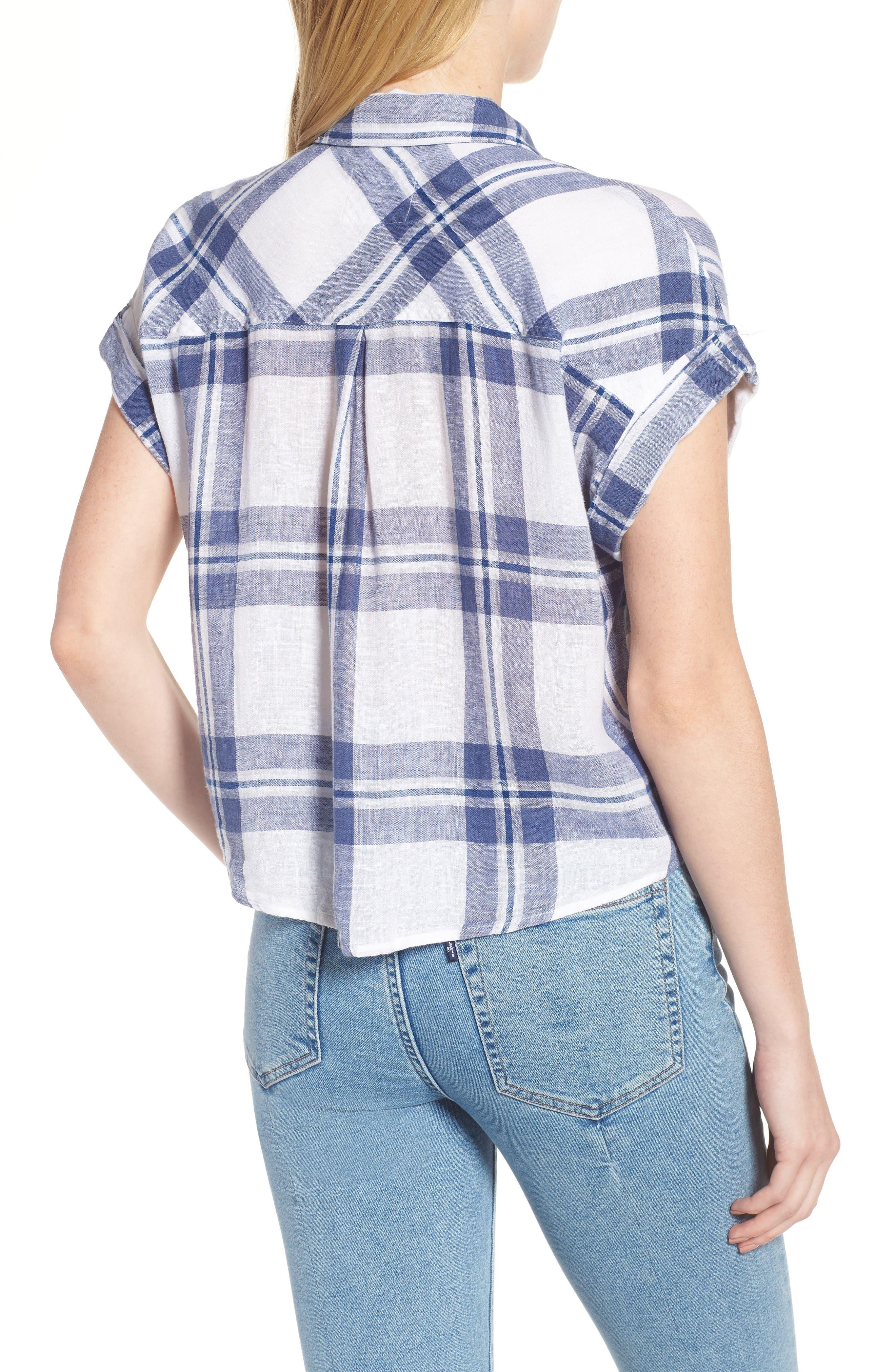 Amelie Tie Front Shirt,                             Alternate thumbnail 2, color,                             Lapis Coast White