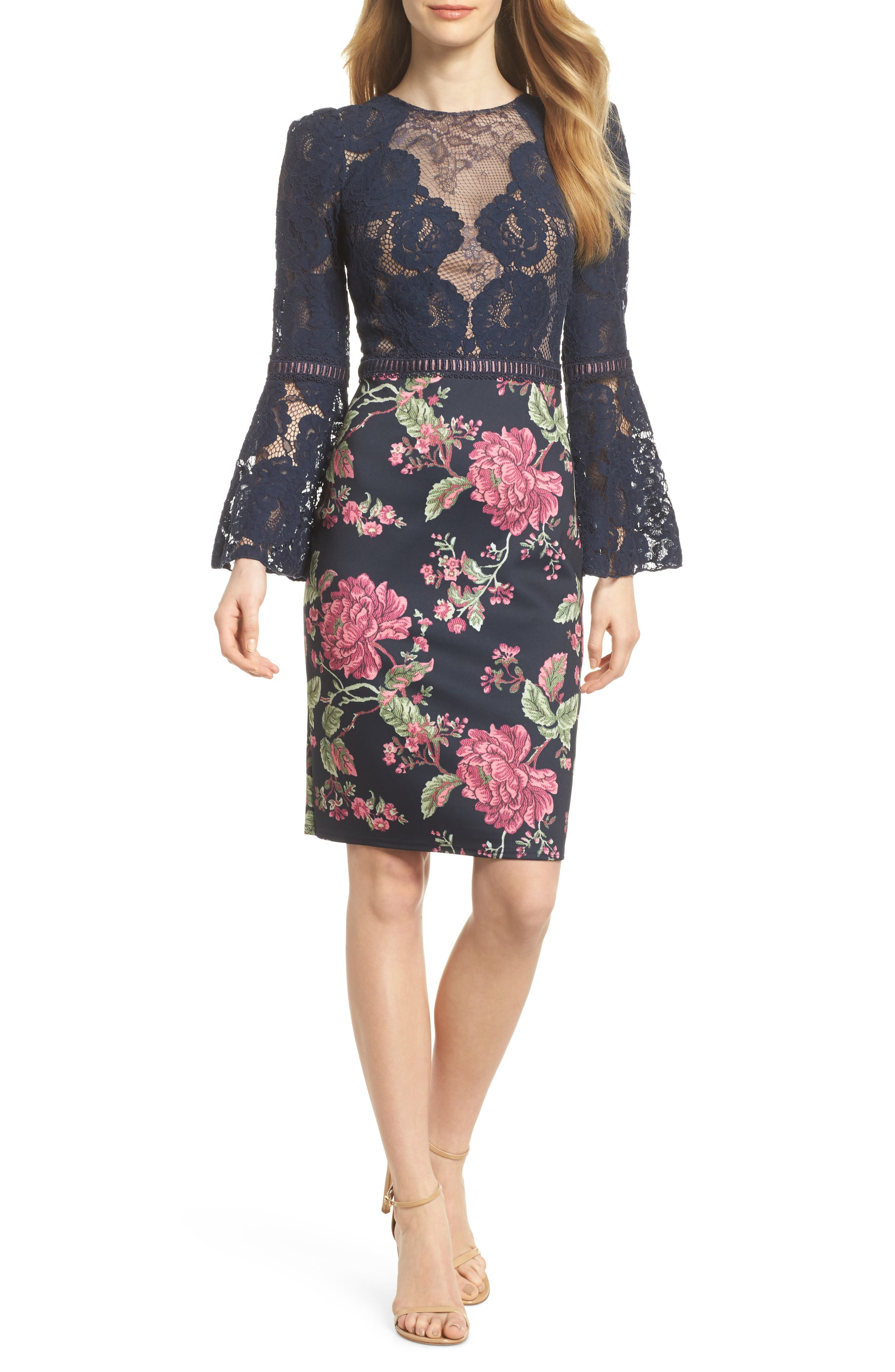 Lace & Neoprene Bell Sleeve Dress,                         Main,                         color, Navy