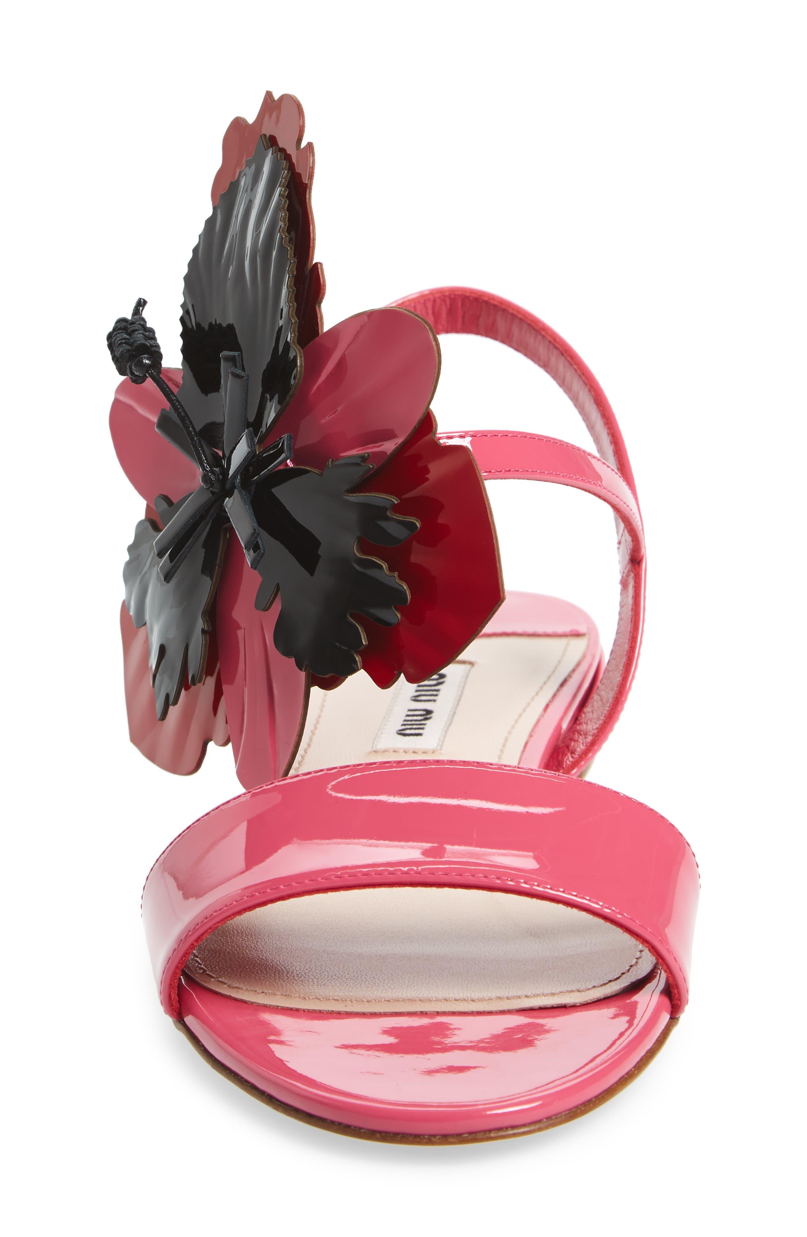 Floral Embellished Strappy Sandal,                             Alternate thumbnail 4, color,                             Pink