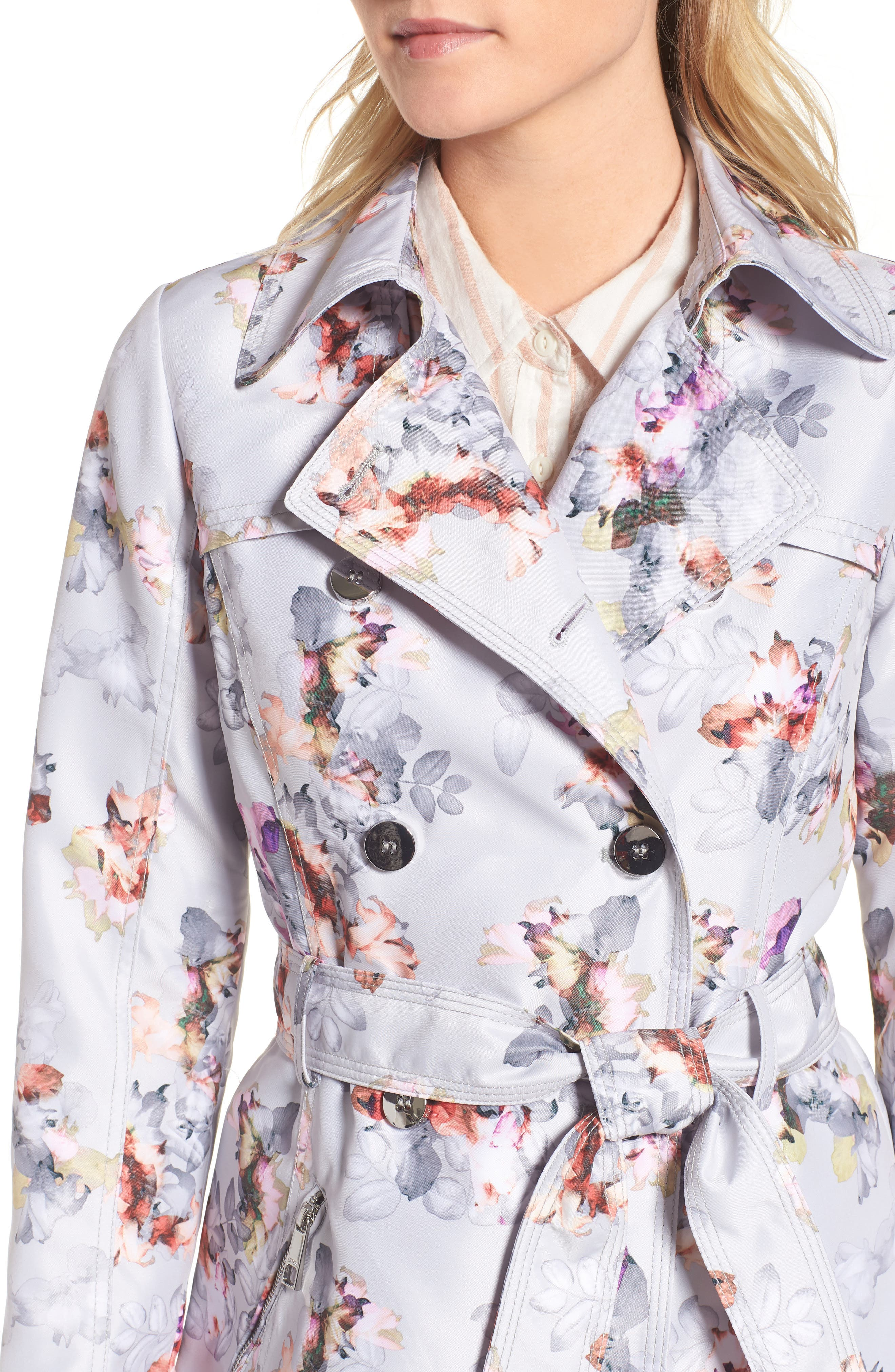 Double Breasted Floral Trench Coat,                             Alternate thumbnail 4, color,                             Floral