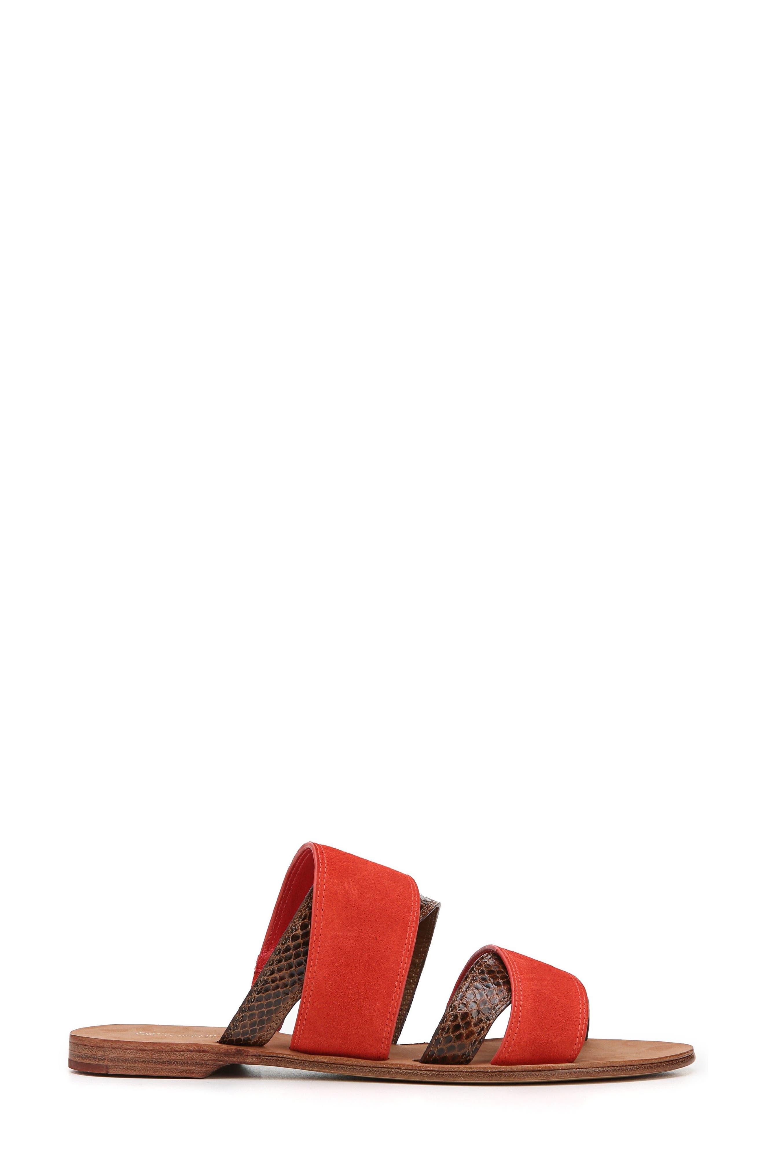 Blake Cross Strap Slide Sandal,                             Alternate thumbnail 3, color,                             Caramel/ Red