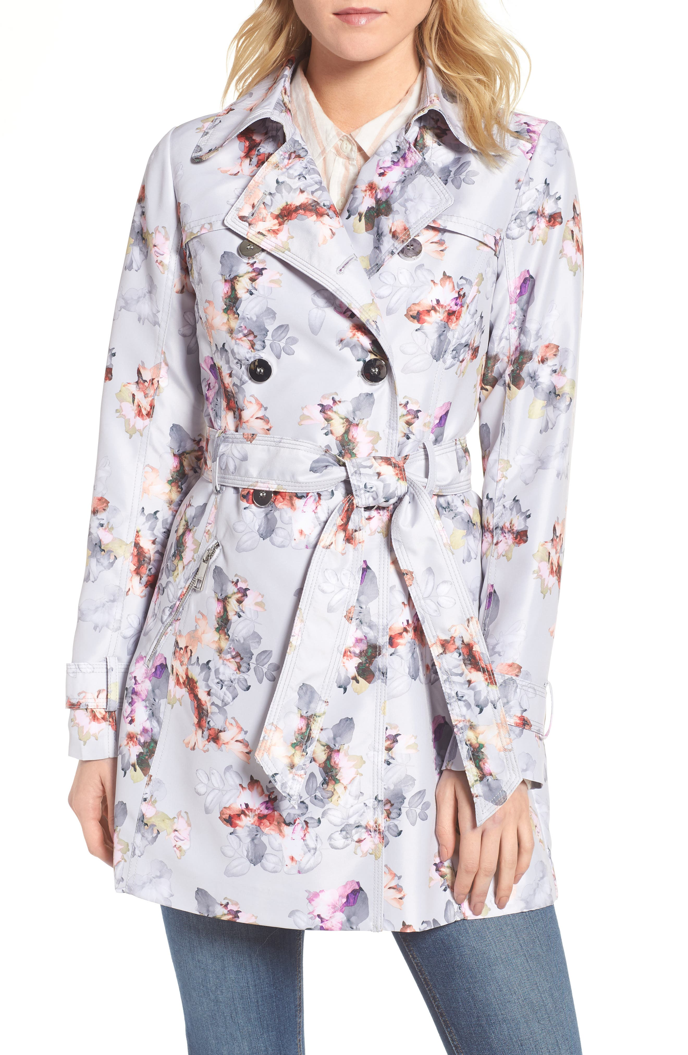 Double Breasted Floral Trench Coat,                             Main thumbnail 1, color,                             Floral