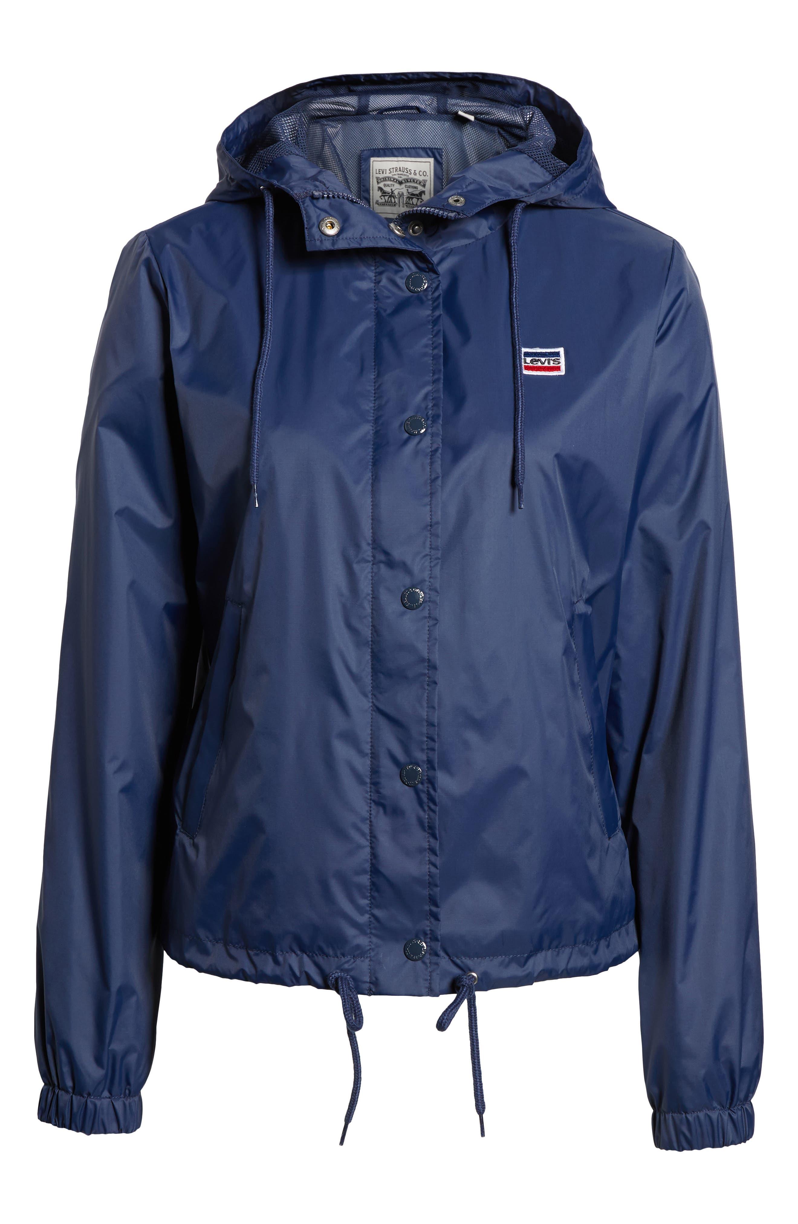 Retro Hooded Coach's Jacket,                             Alternate thumbnail 7, color,                             Navy