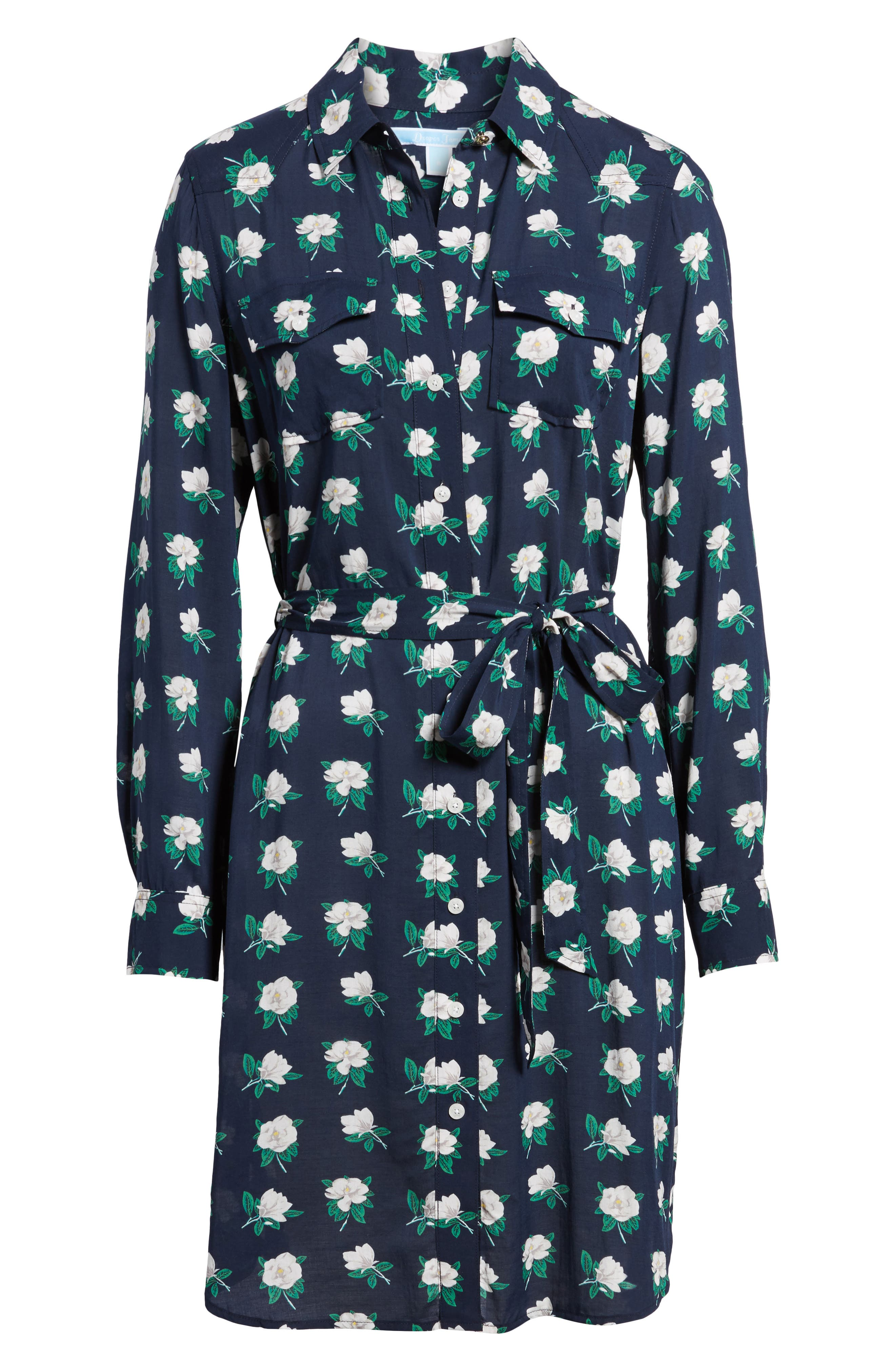 Magnolia Casual Belted Shirtdress,                             Alternate thumbnail 6, color,                             Magnolia Navy