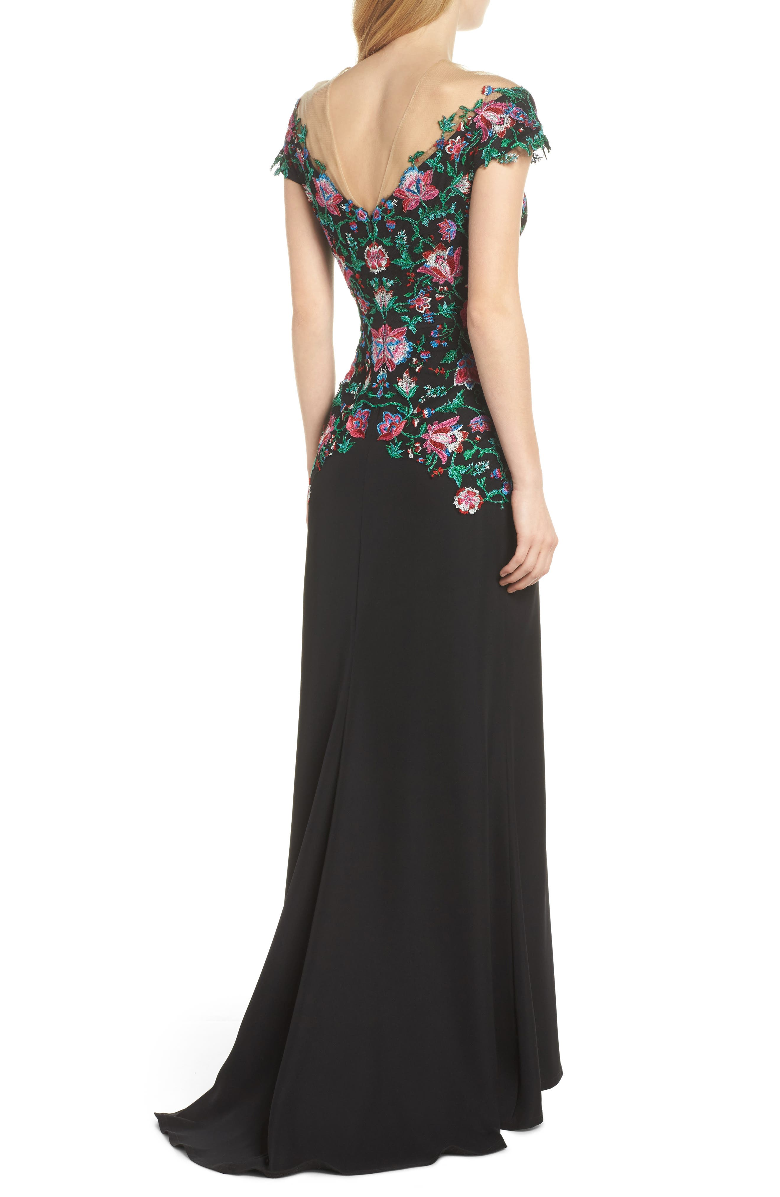 Embroidered Illusion Gown,                             Alternate thumbnail 2, color,                             Black Dahlia