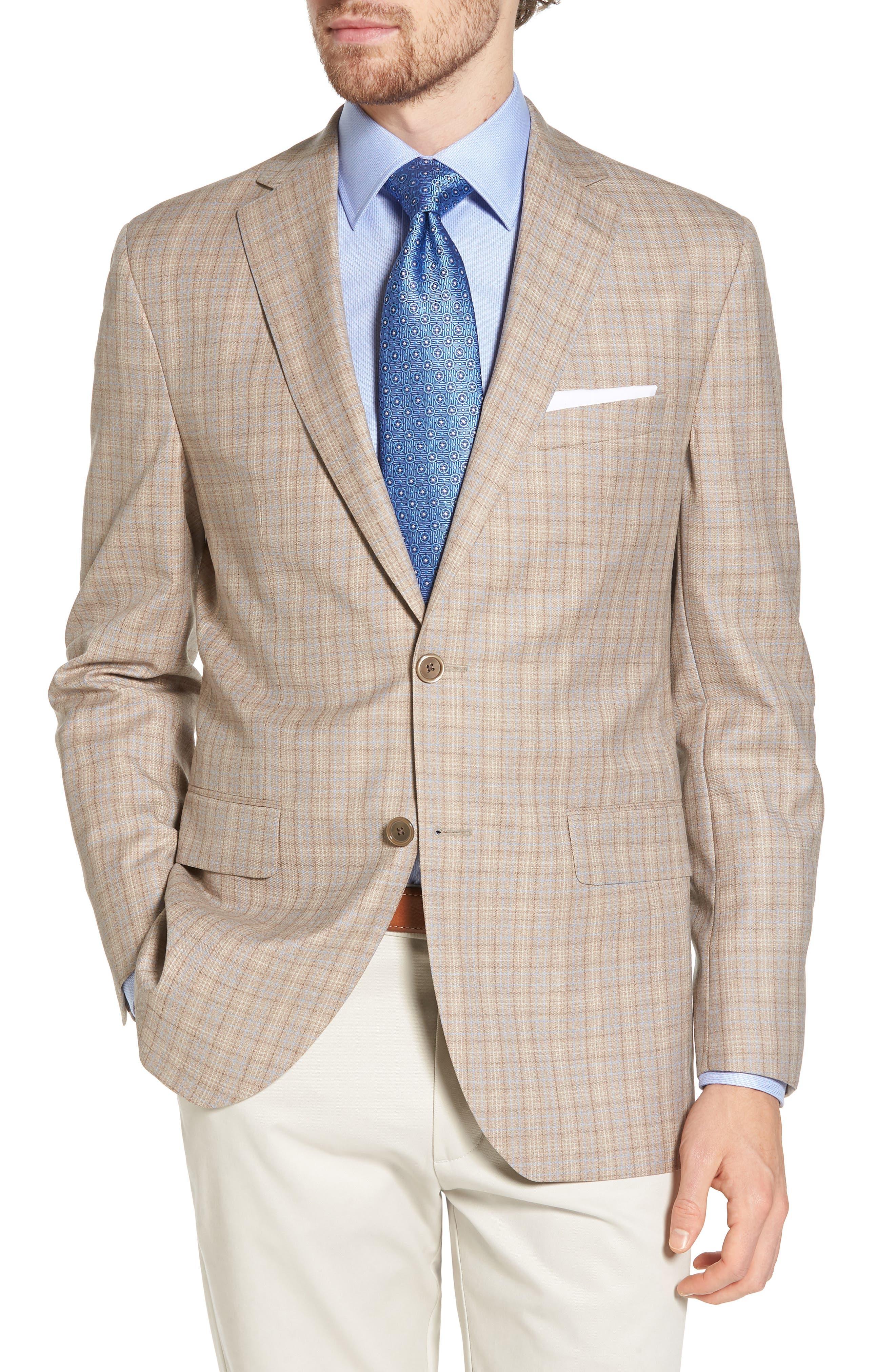 Arnold Classic Fit Plaid Wool Sport Coat,                         Main,                         color, Tan