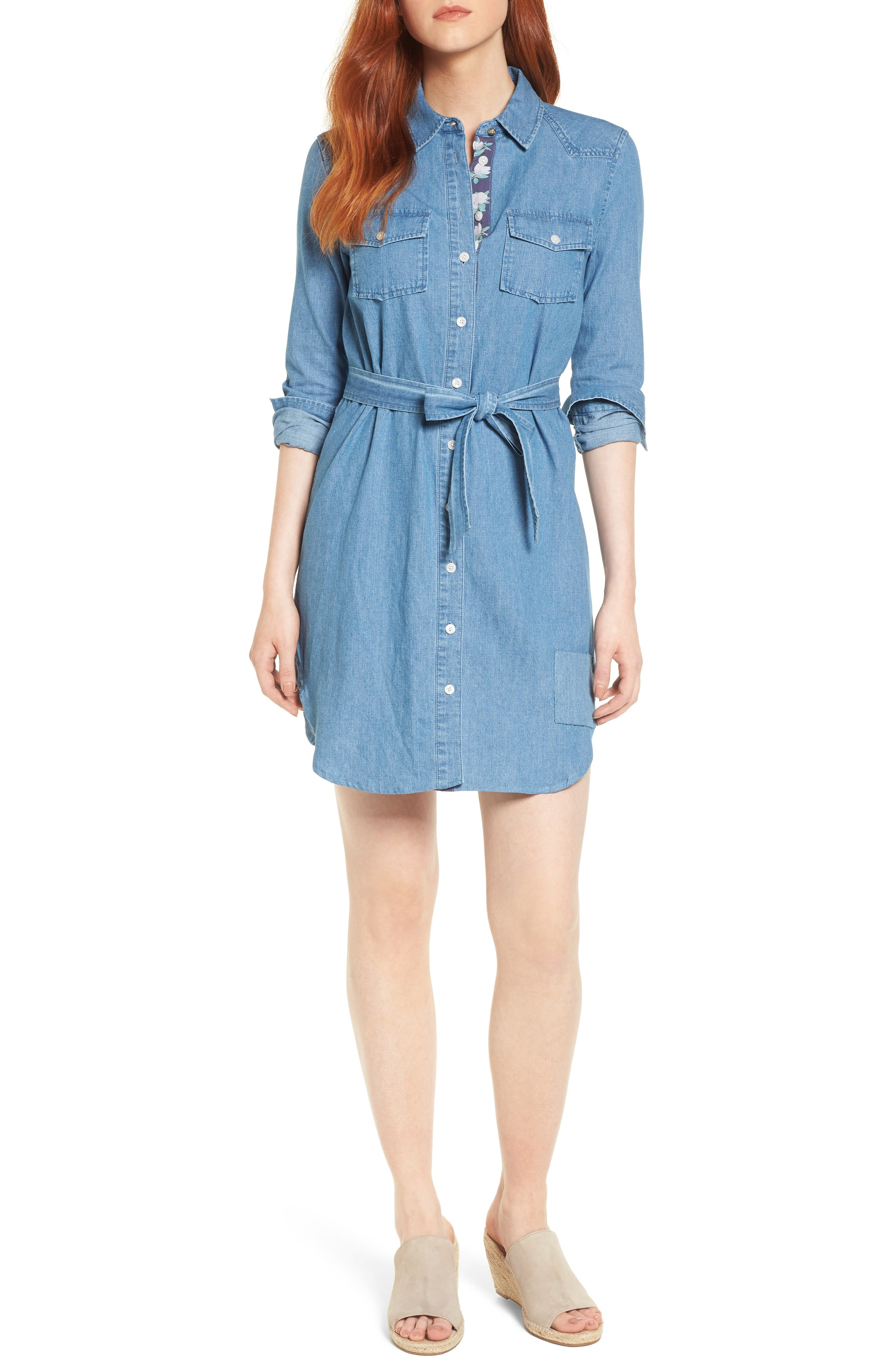 Casual Belted Chambray Shirtdress,                         Main,                         color, Chambray