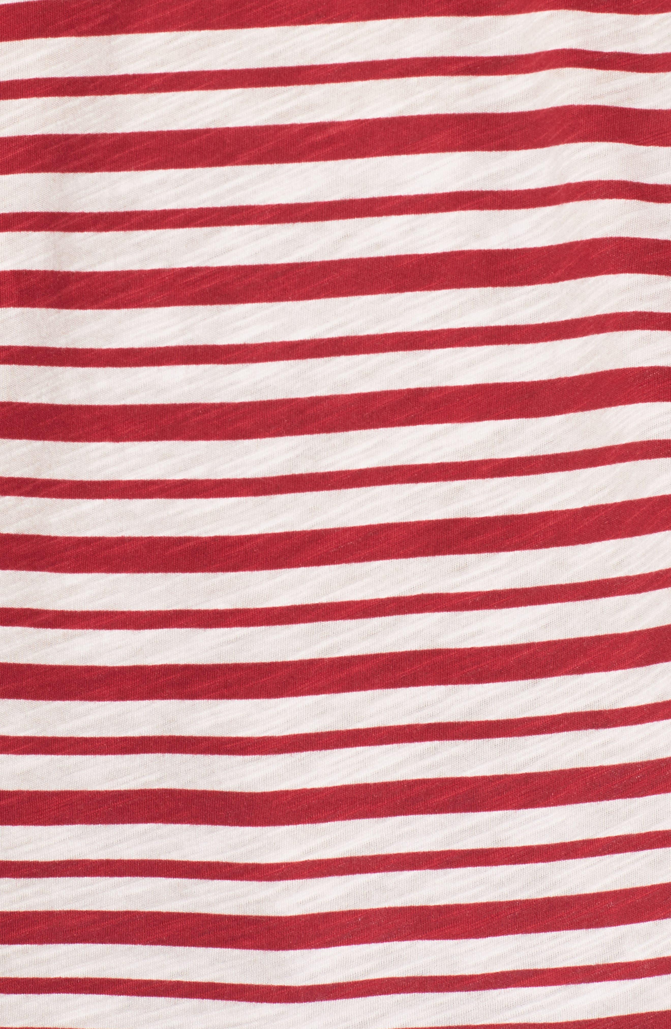 Slub Stripe Ringer T-Shirt,                             Alternate thumbnail 5, color,                             Ivory Red Stripe