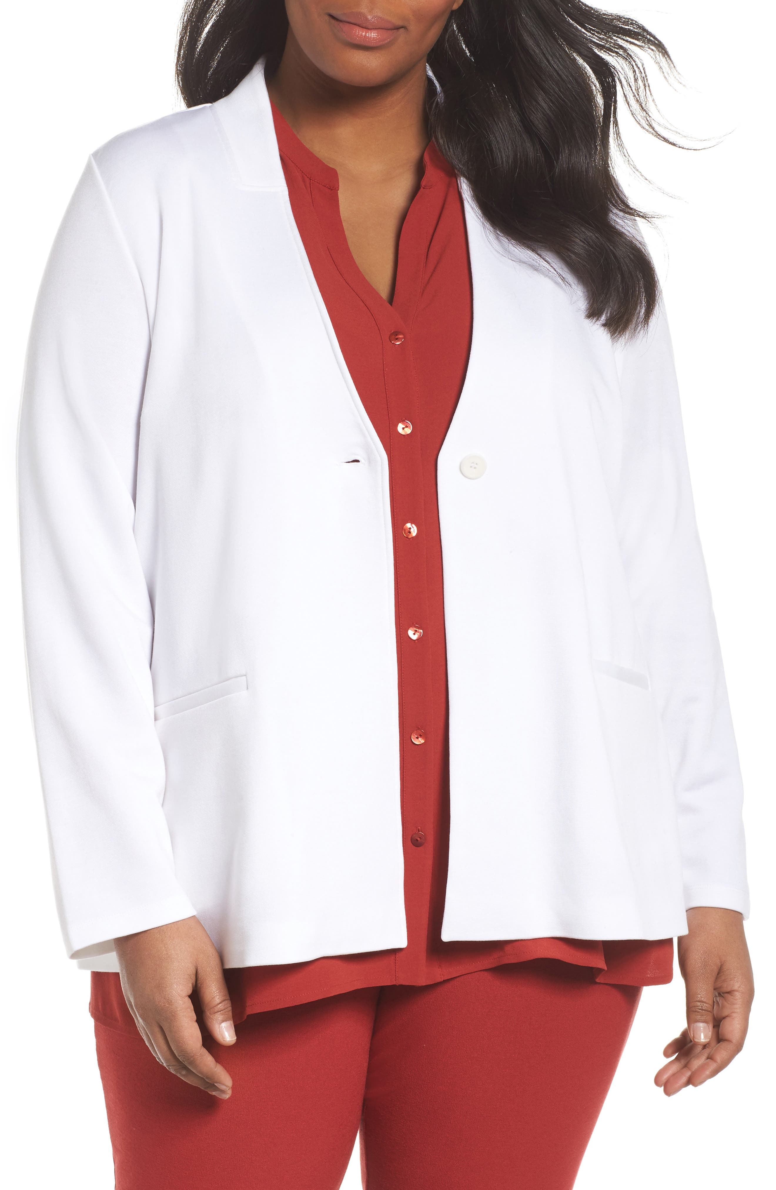 Stand Collar Blazer,                             Main thumbnail 1, color,                             White