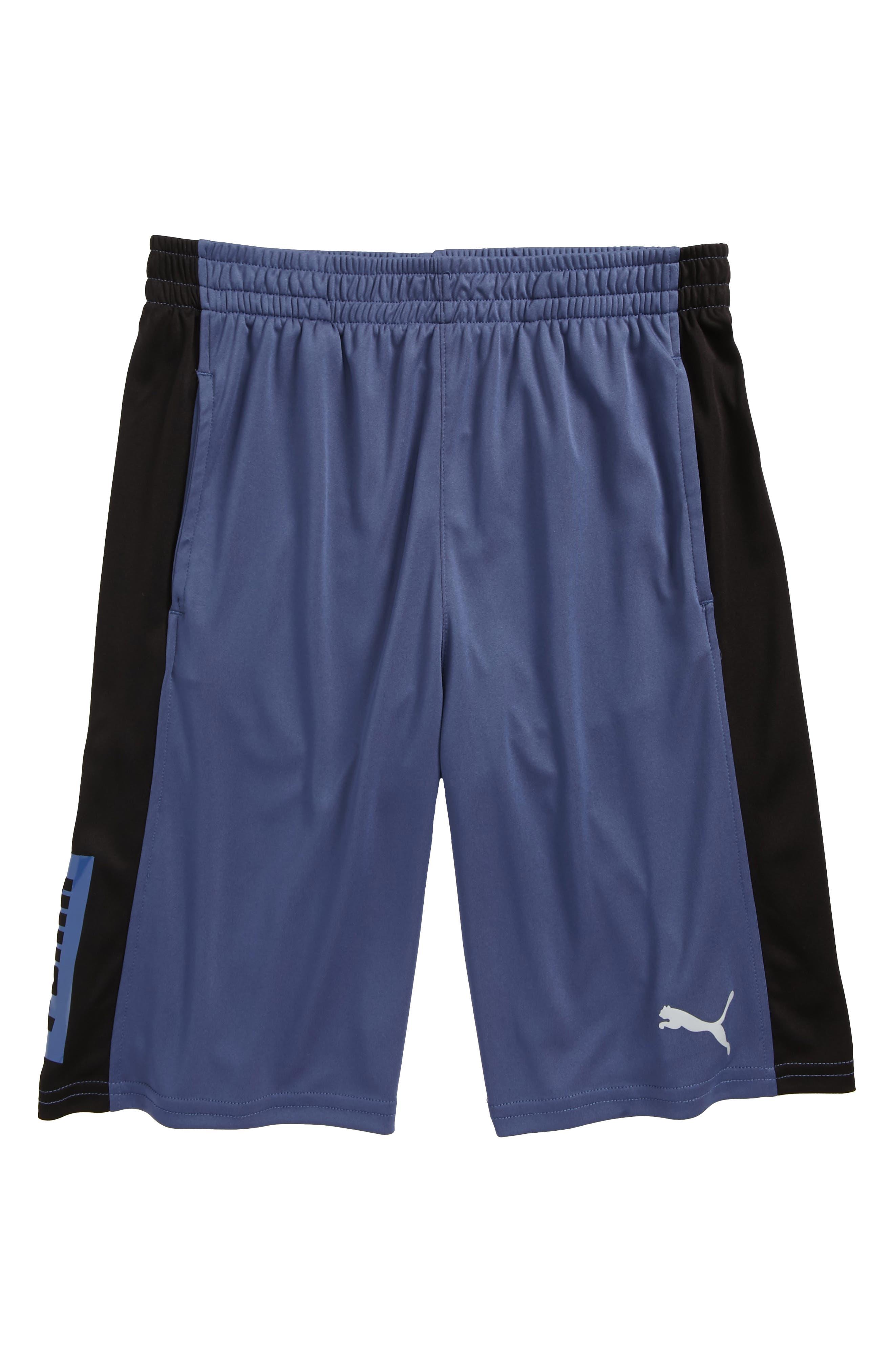 Colorblock Perforated Shorts,                             Main thumbnail 1, color,                             Blue Indigo