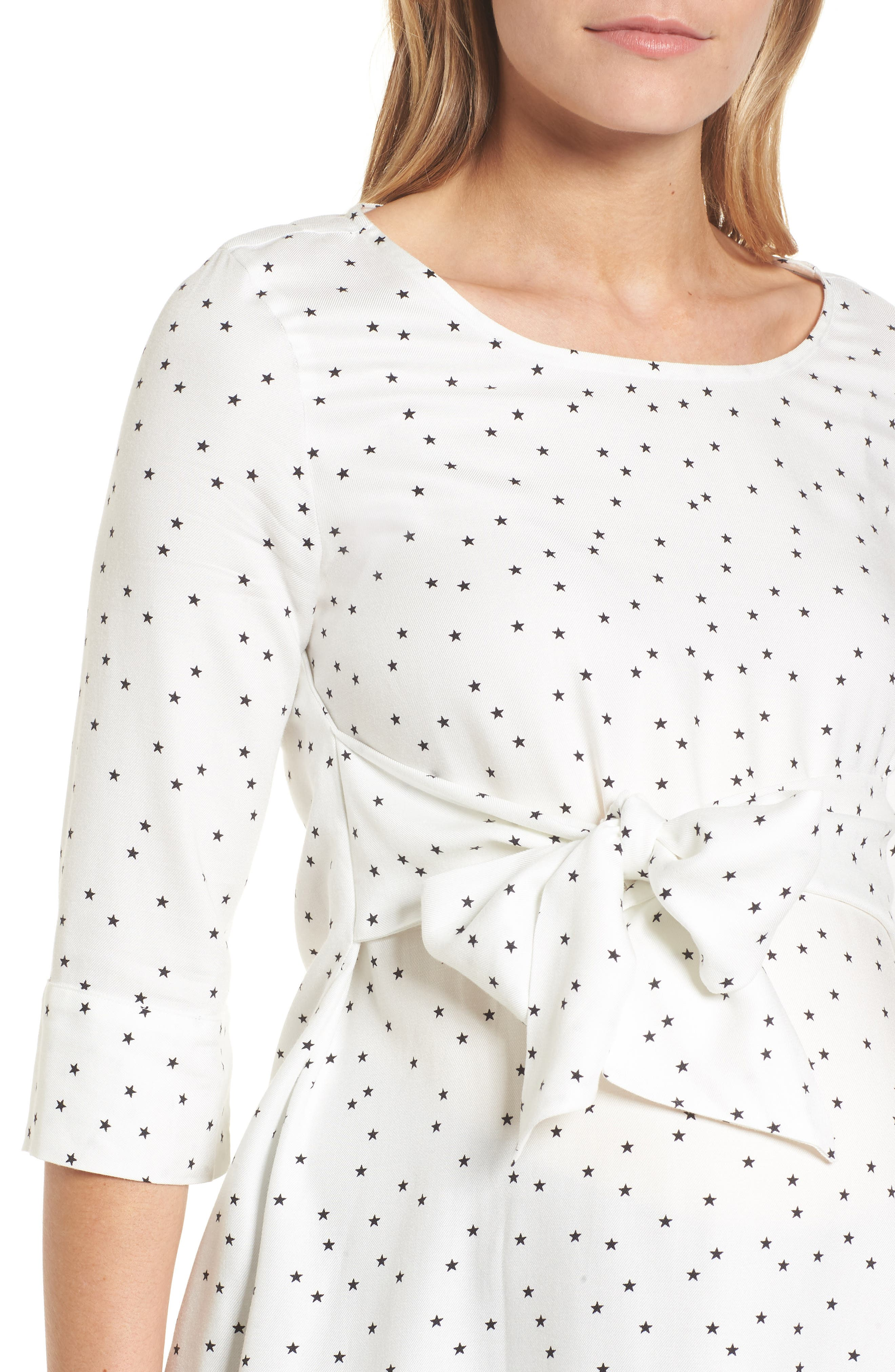 Selina Tie Front Maternity Top,                             Alternate thumbnail 4, color,                             Off White Star Print