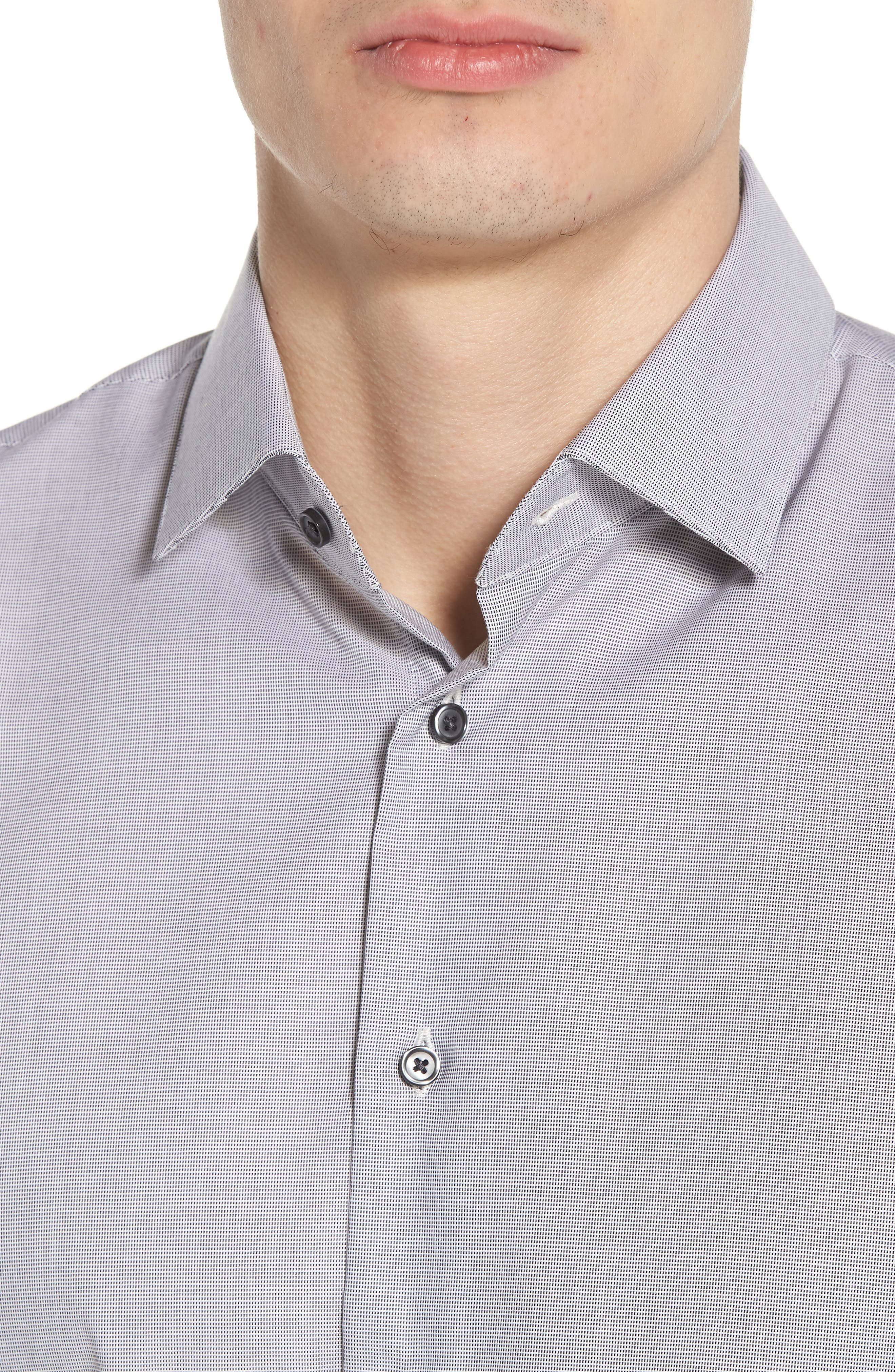 Trim Fit Non-Iron Stretch Solid Dress Shirt,                             Alternate thumbnail 2, color,                             Grey Sconce