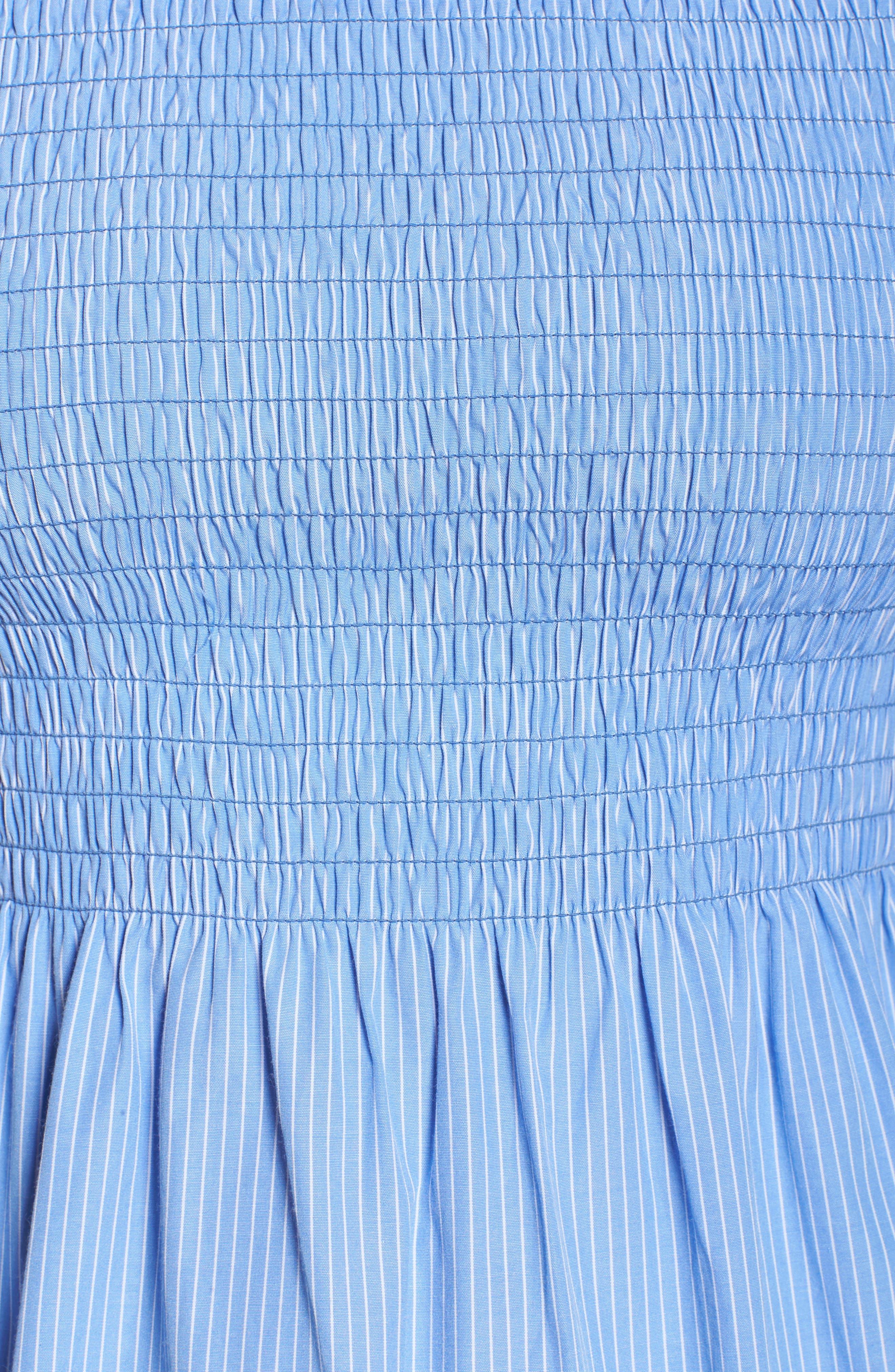 Smocked Off the Shoulder Bell Sleeve Dress,                             Alternate thumbnail 5, color,                             Blue/ White Stripe