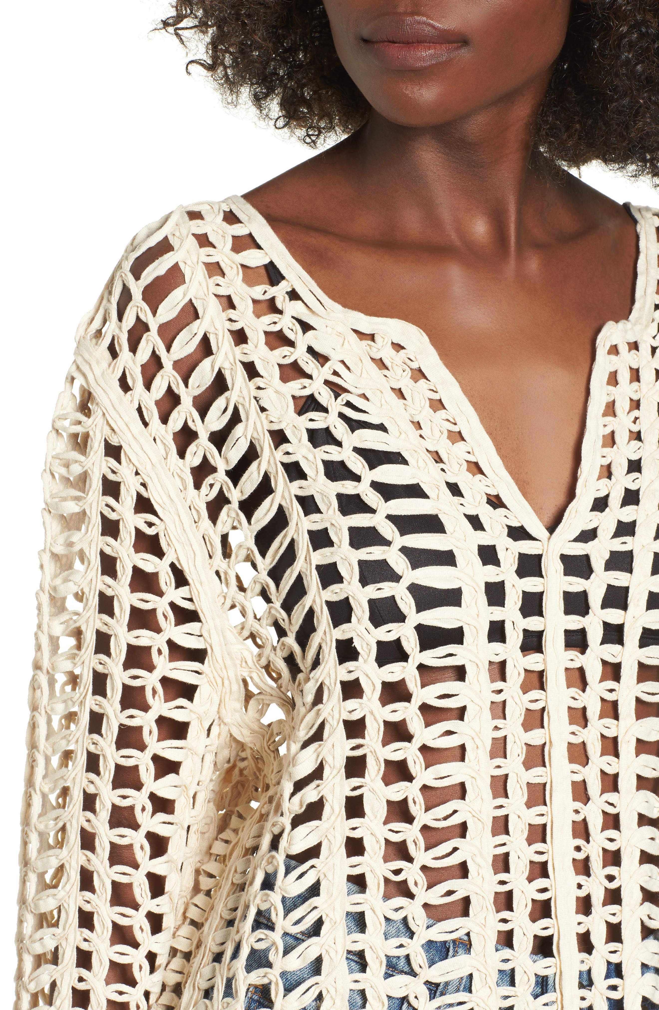 Open Tape Embroidered Top,                             Alternate thumbnail 4, color,                             Open Minded Off-White