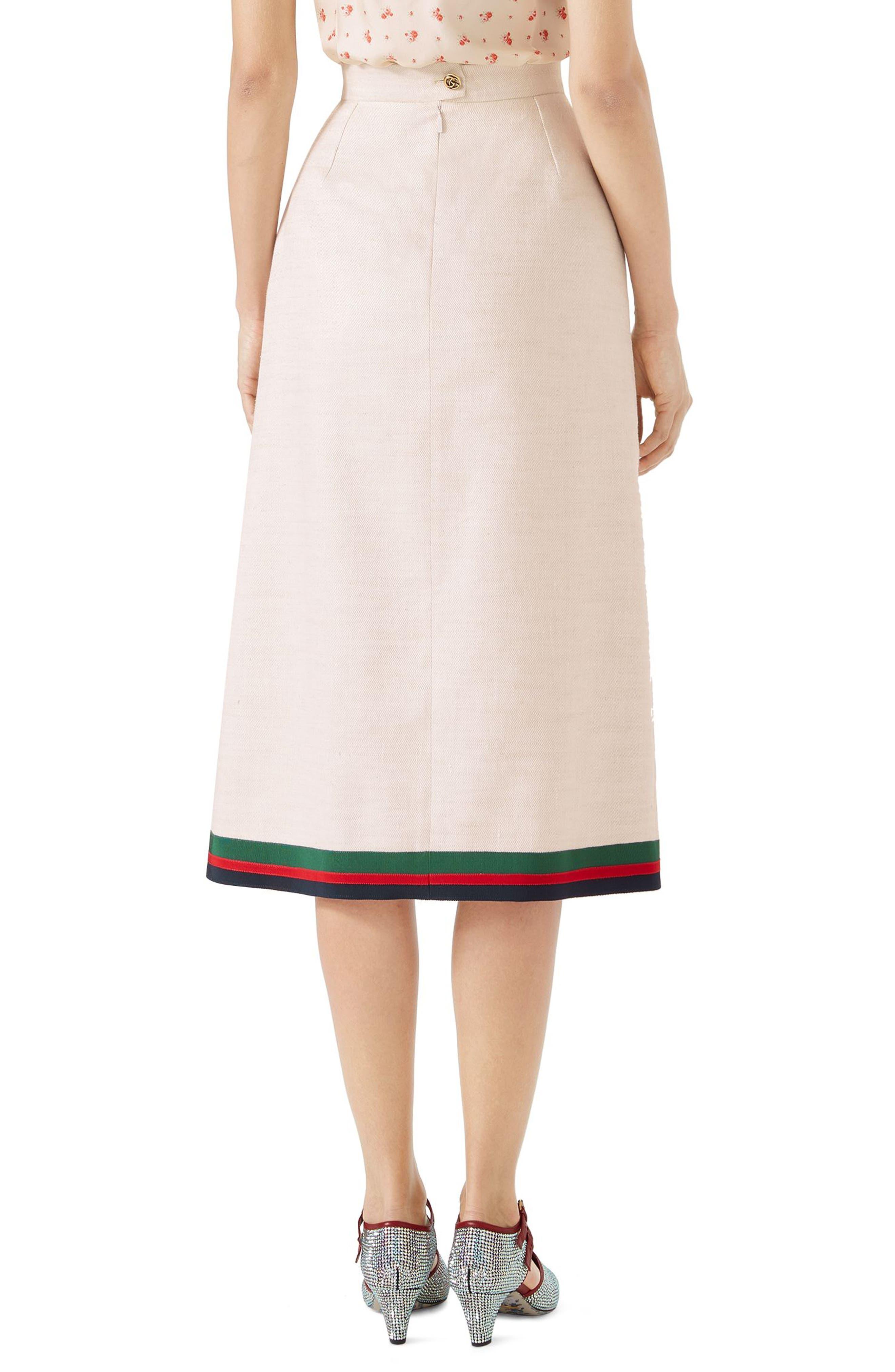 Pleated Linen & Silk Skirt,                             Alternate thumbnail 2, color,                             Gardenia/ B/ R/ V