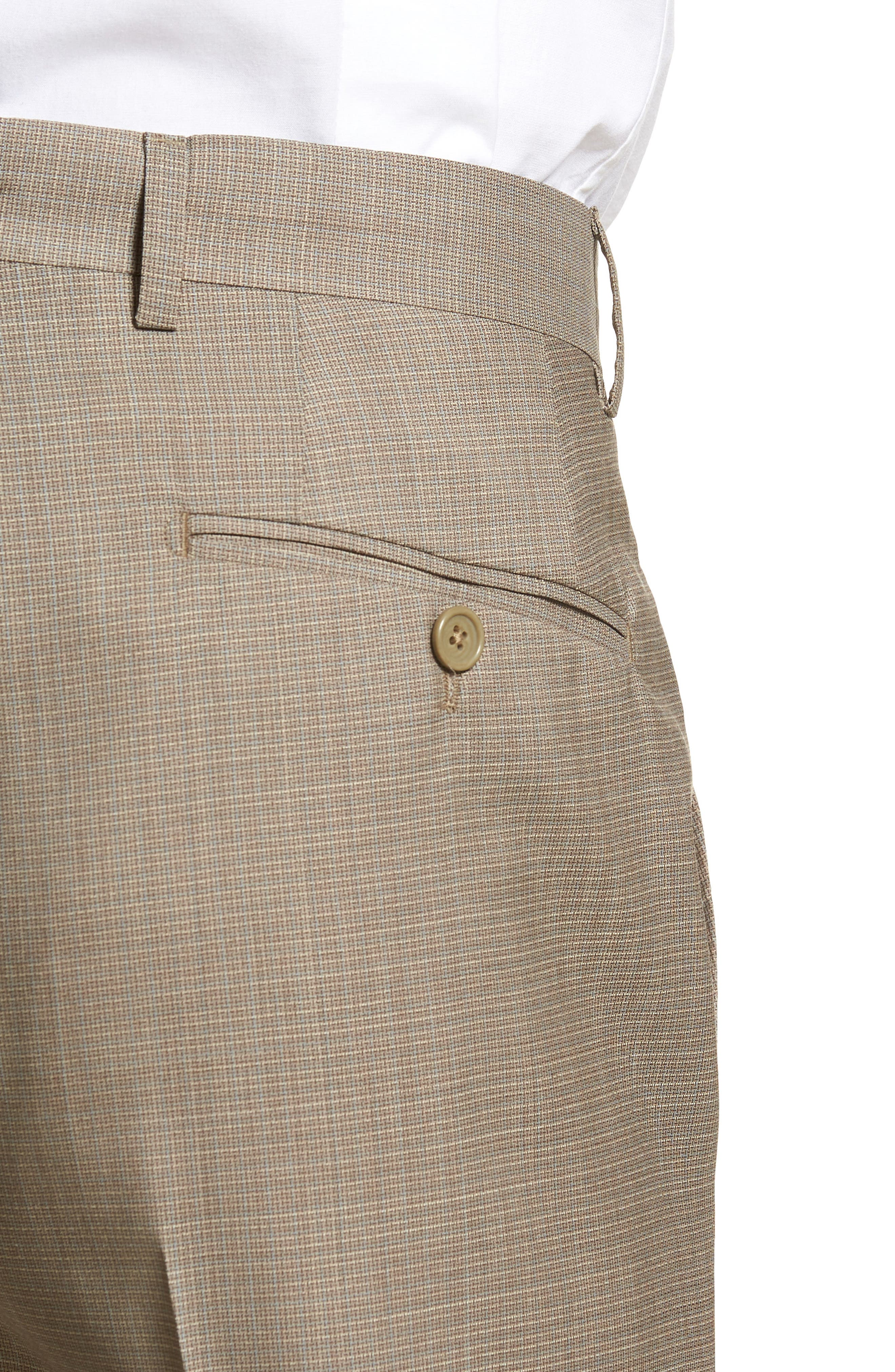 Flat Front Check Wool Trousers,                             Alternate thumbnail 4, color,                             Dark Tan
