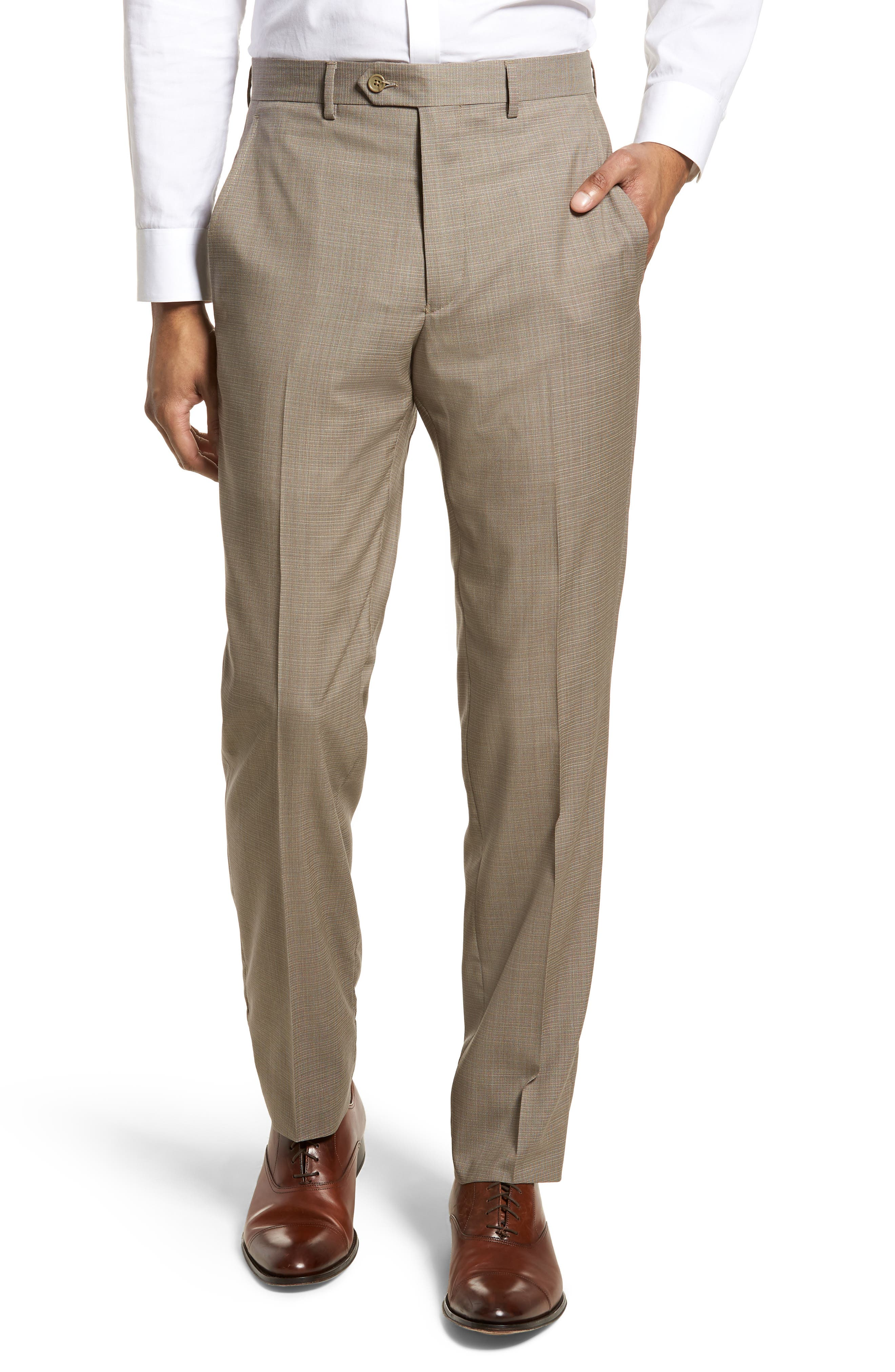 Flat Front Check Wool Trousers,                         Main,                         color, Dark Tan