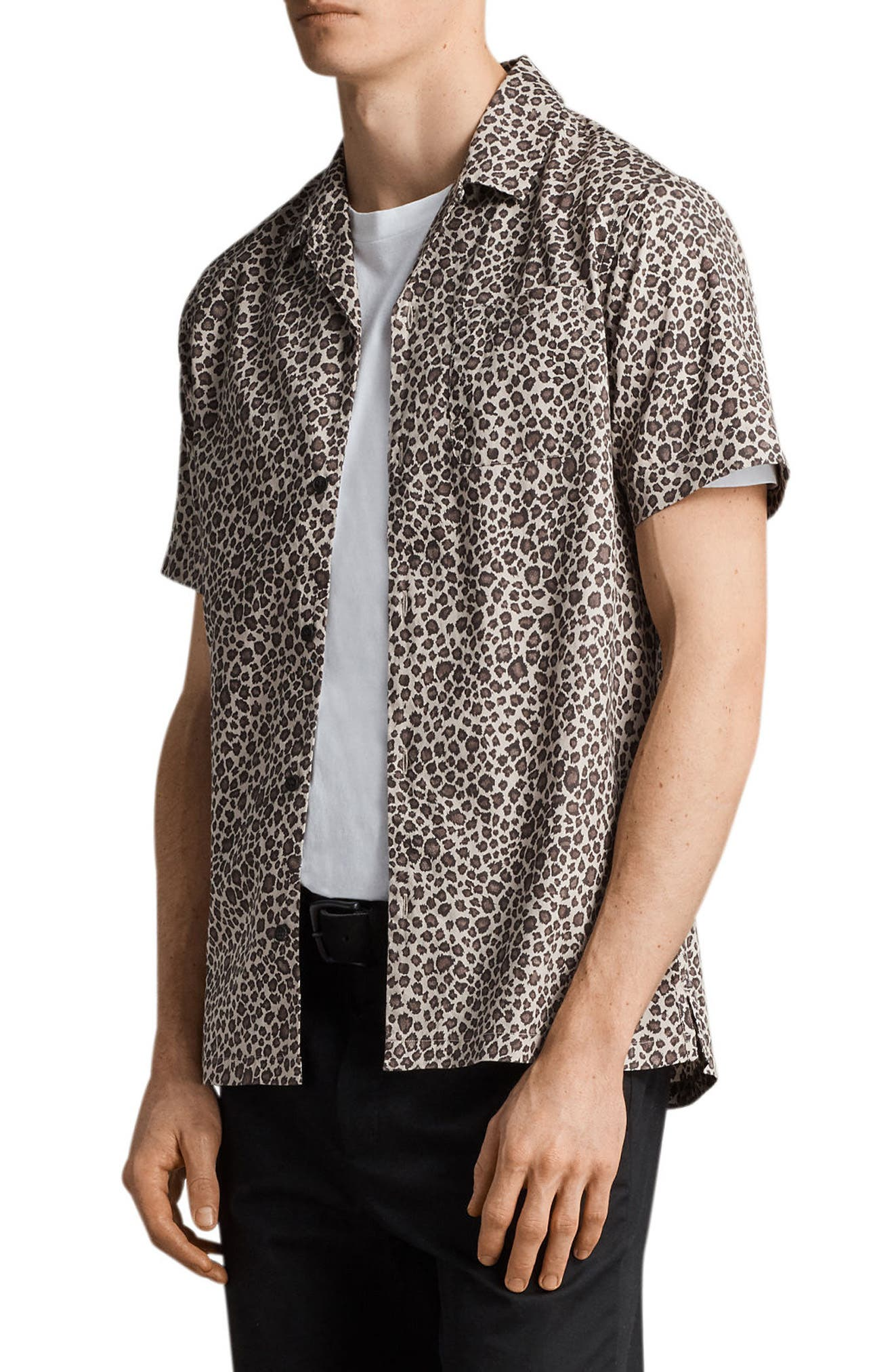 Apex Leopard Print Short Sleeve Sport Shirt,                             Alternate thumbnail 3, color,                             Light Brown