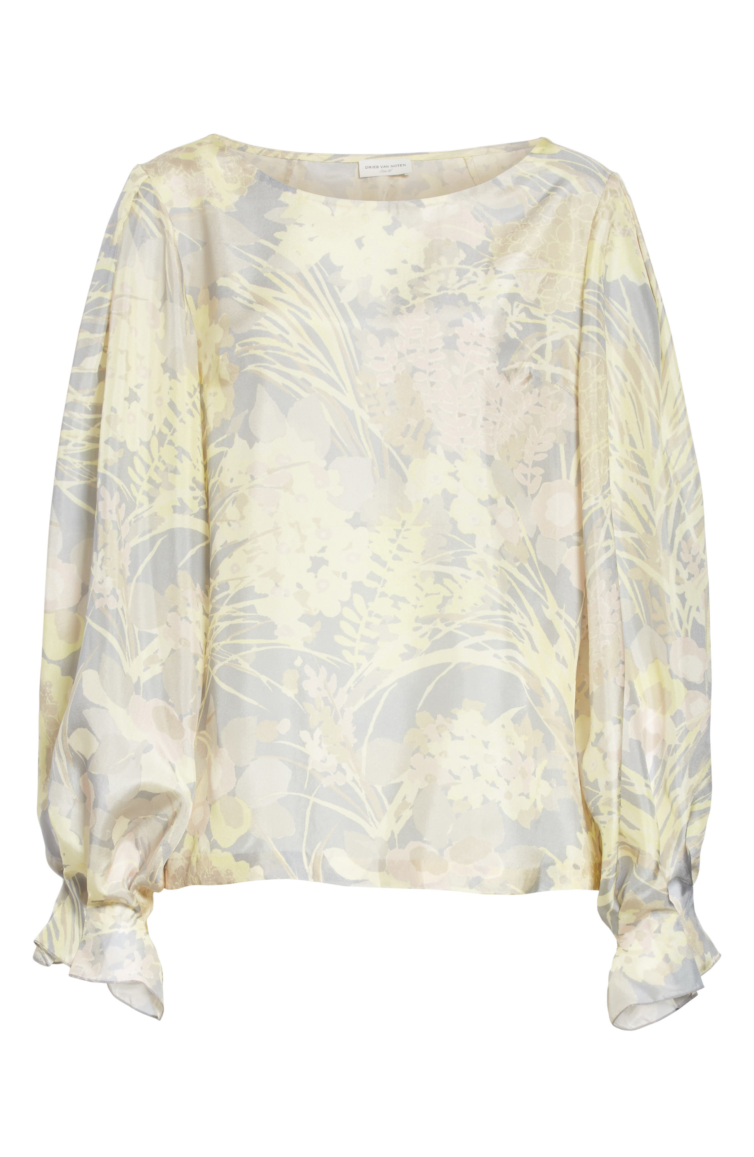 Floral Silk Blouse,                             Alternate thumbnail 6, color,                             Grey