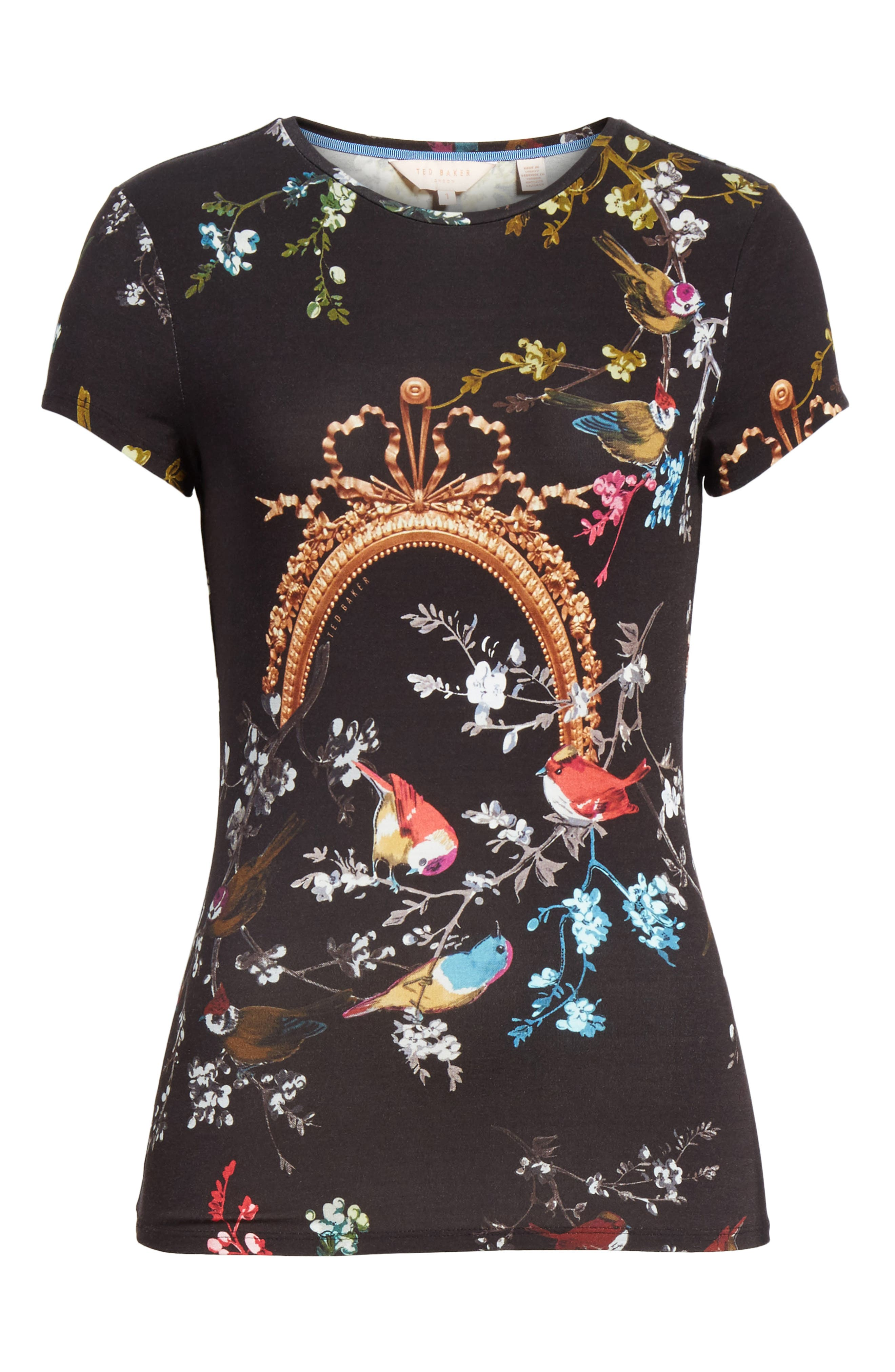 Opulent Fauna Fitted Tee,                             Alternate thumbnail 6, color,                             Black