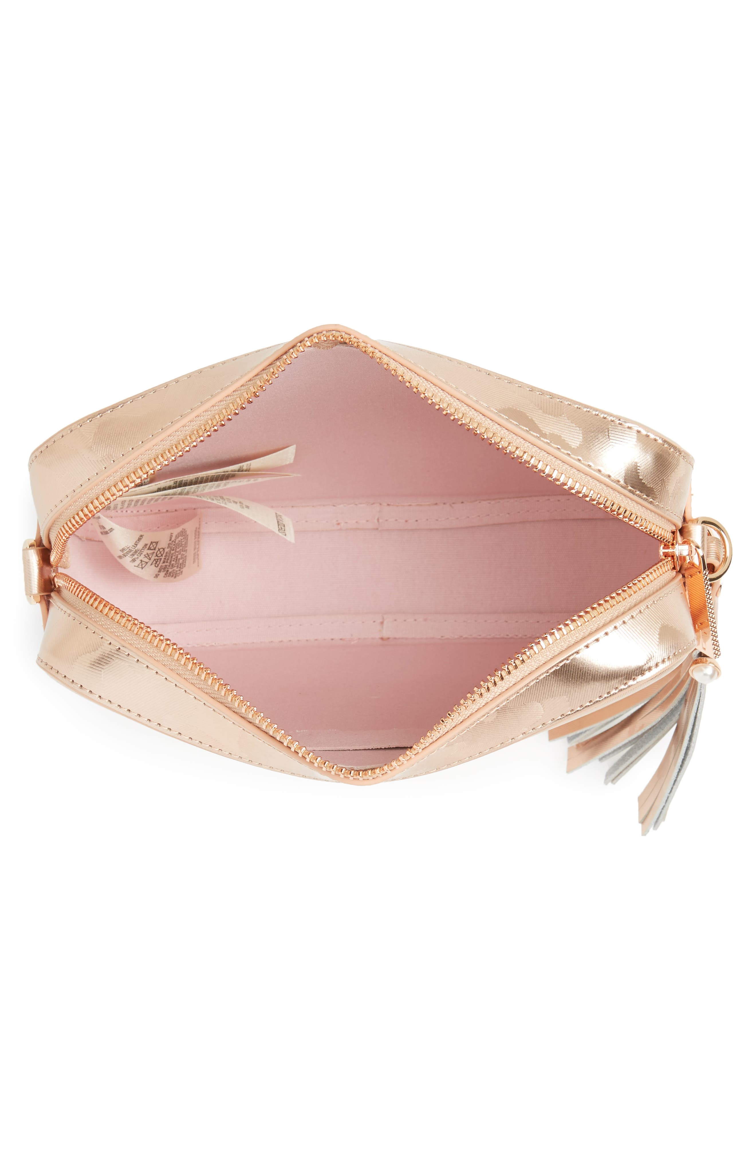 Camouflage Leather Camera Bag,                             Alternate thumbnail 6, color,                             Rose Gold