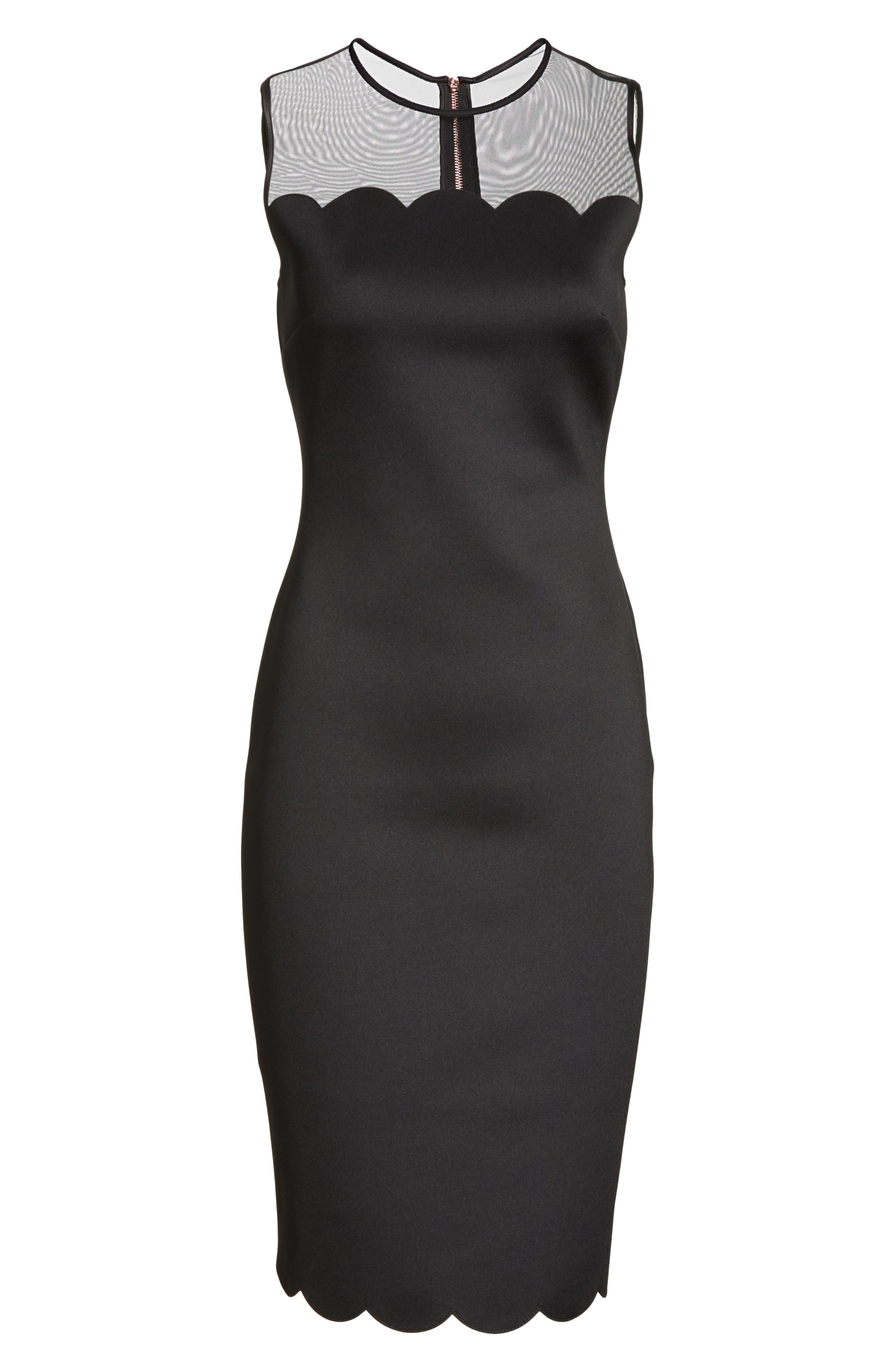 Scalloped Mesh Yoke Body-Con Dress,                             Alternate thumbnail 6, color,                             Black