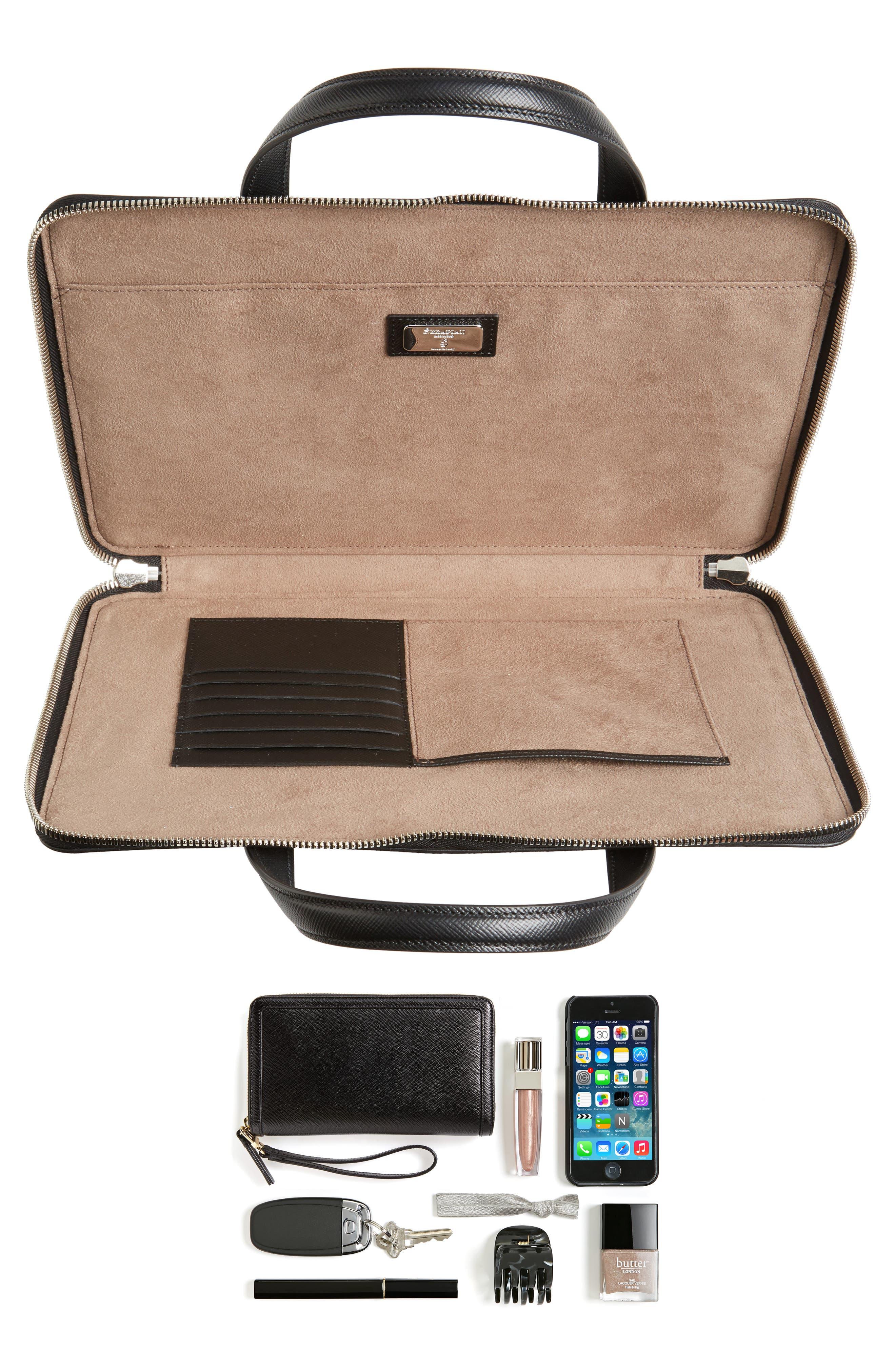 Flat Calfskin Briefcase,                             Alternate thumbnail 7, color,