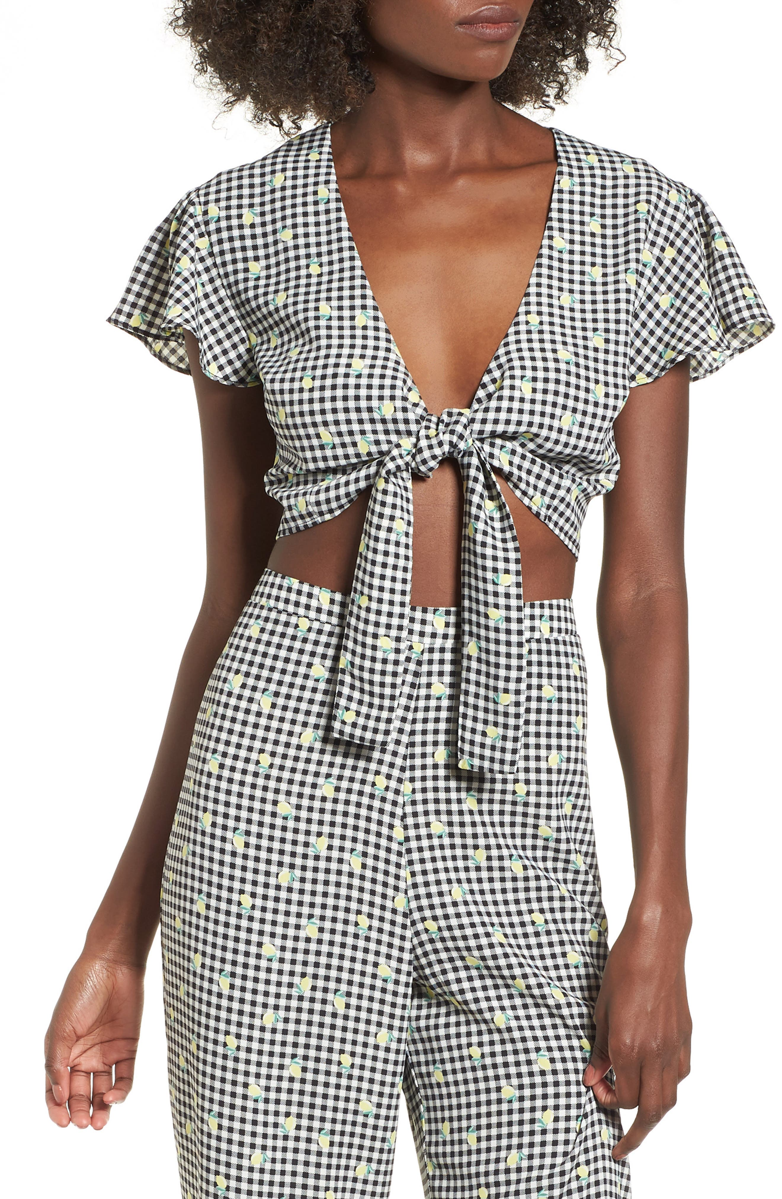 Gingham Tie Front Crop Top,                             Main thumbnail 1, color,                             Gingham Lemon Print