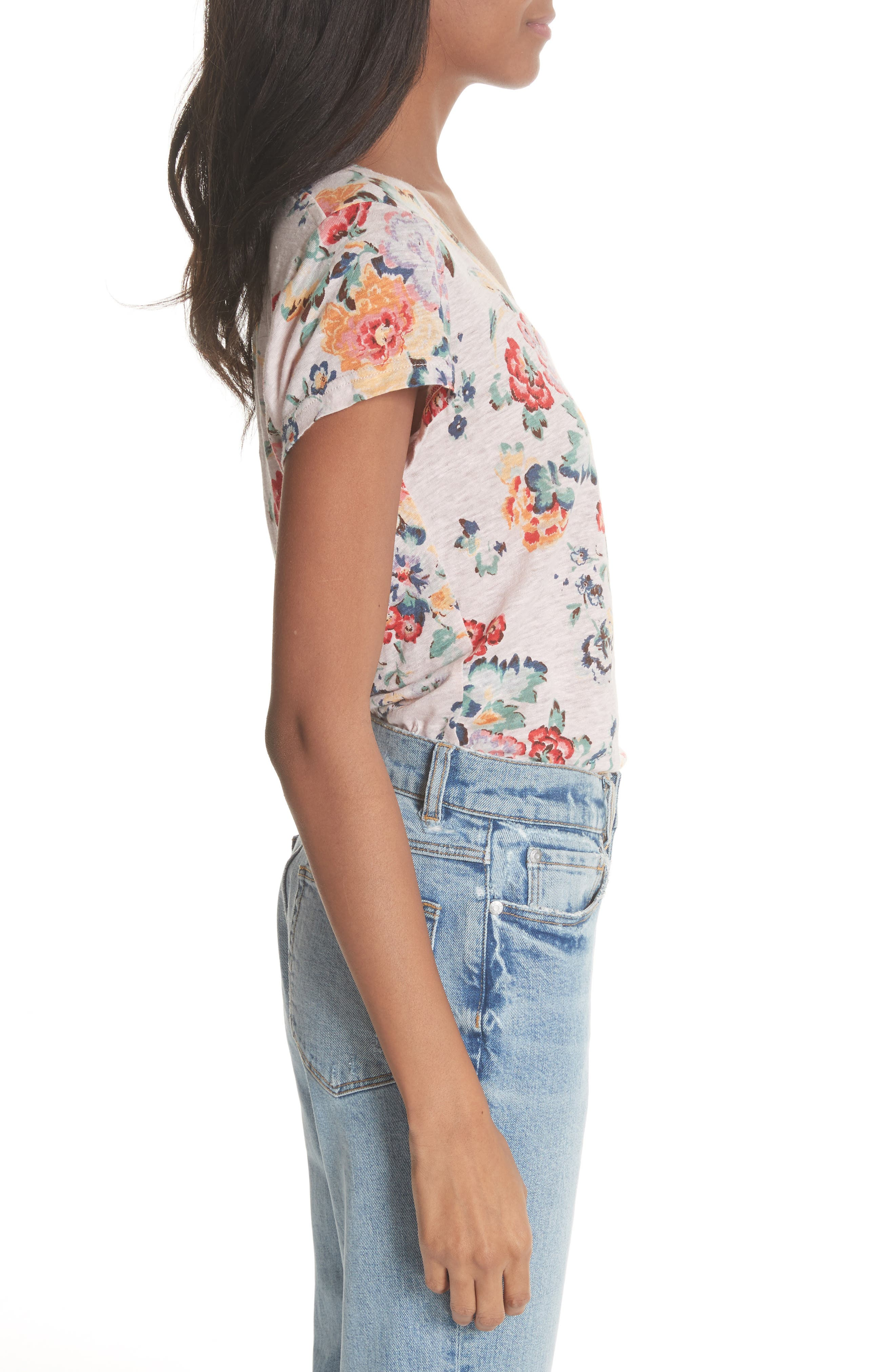 Marlena Floral Linen Tee,                             Alternate thumbnail 3, color,                             Dusty Rose Combo