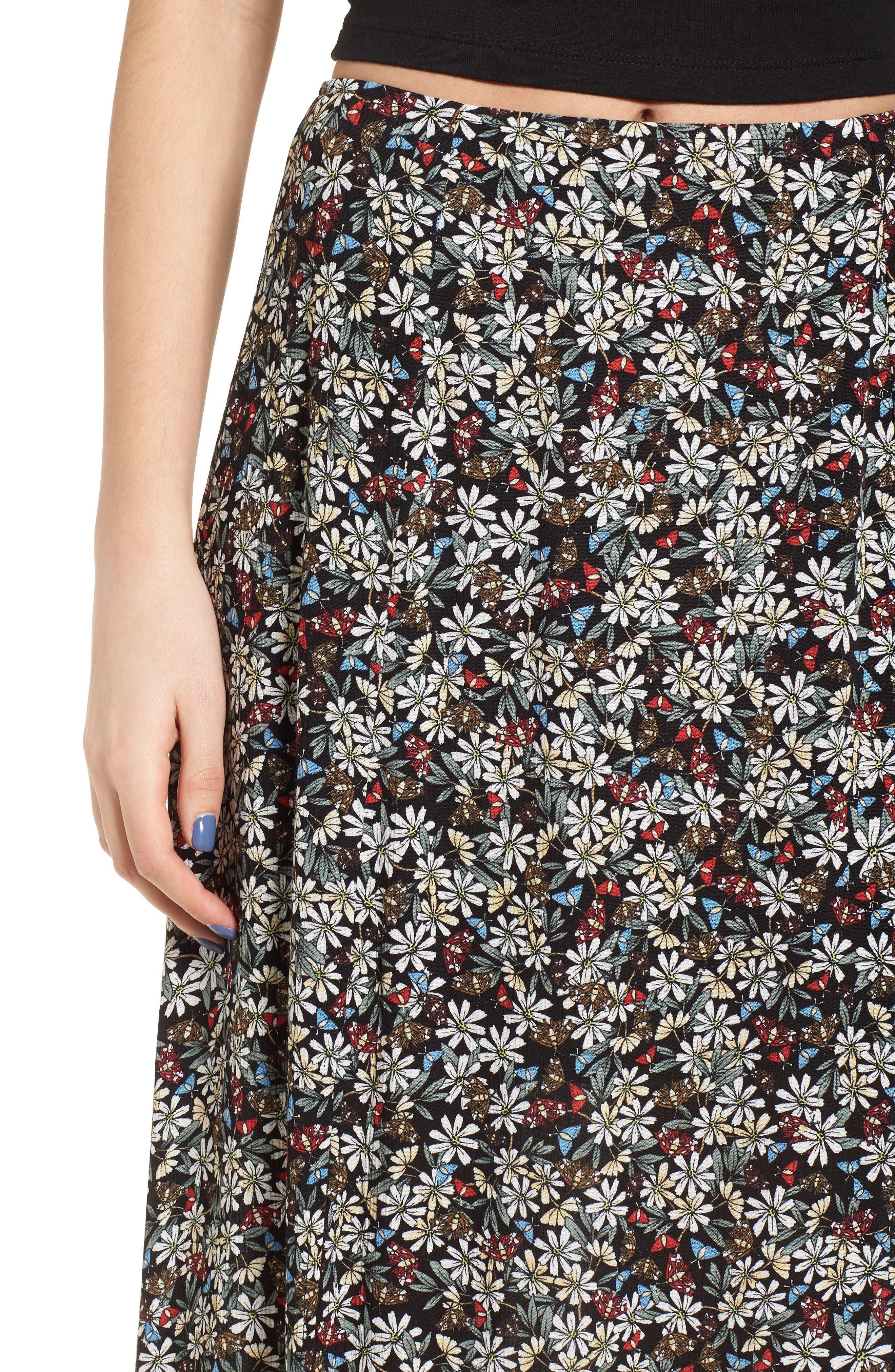 Flora Slit Front Maxi Skirt,                             Alternate thumbnail 5, color,                             Multi Black