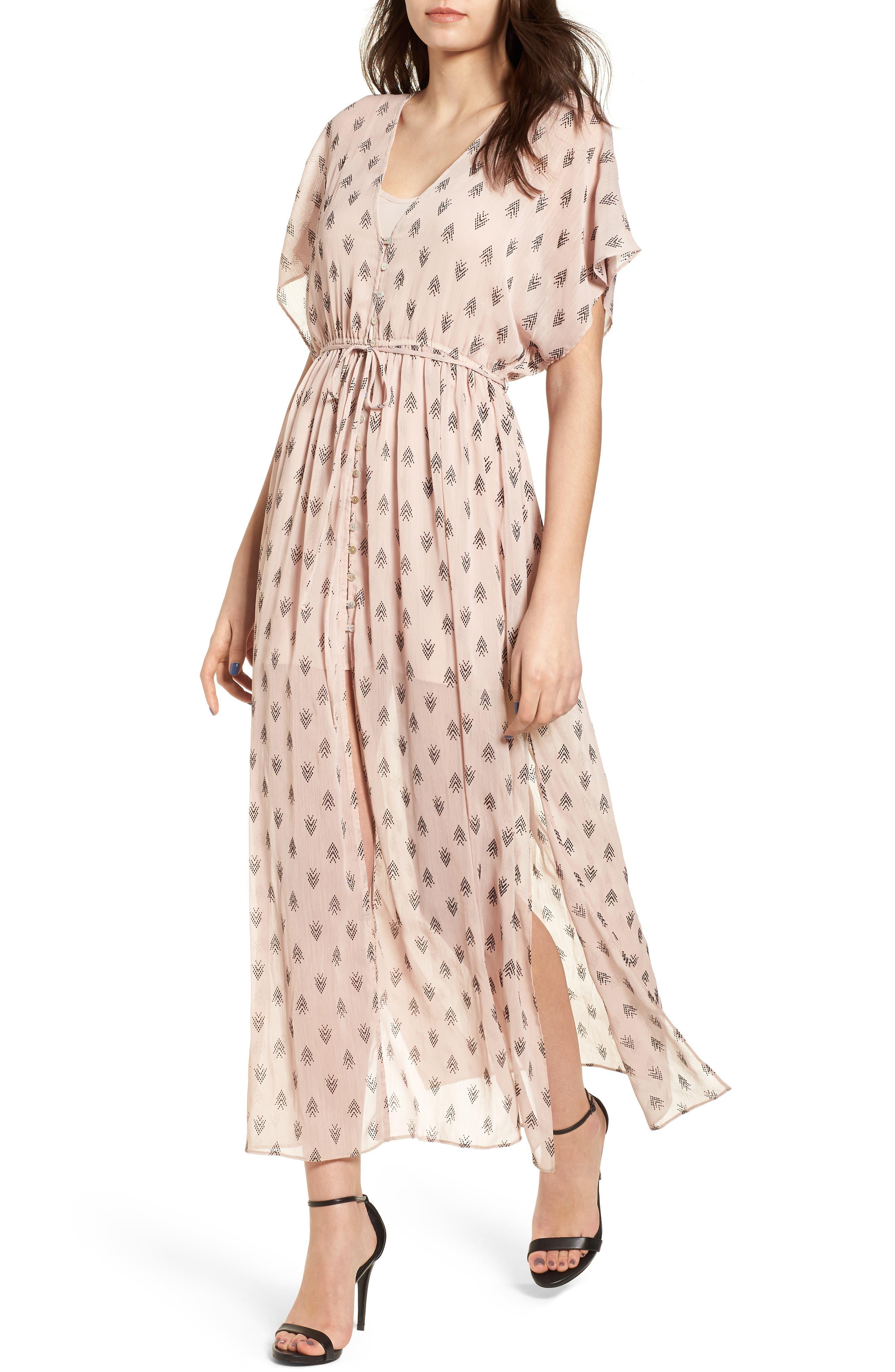 Brooke Slit Hem Dress,                             Main thumbnail 1, color,                             Blush
