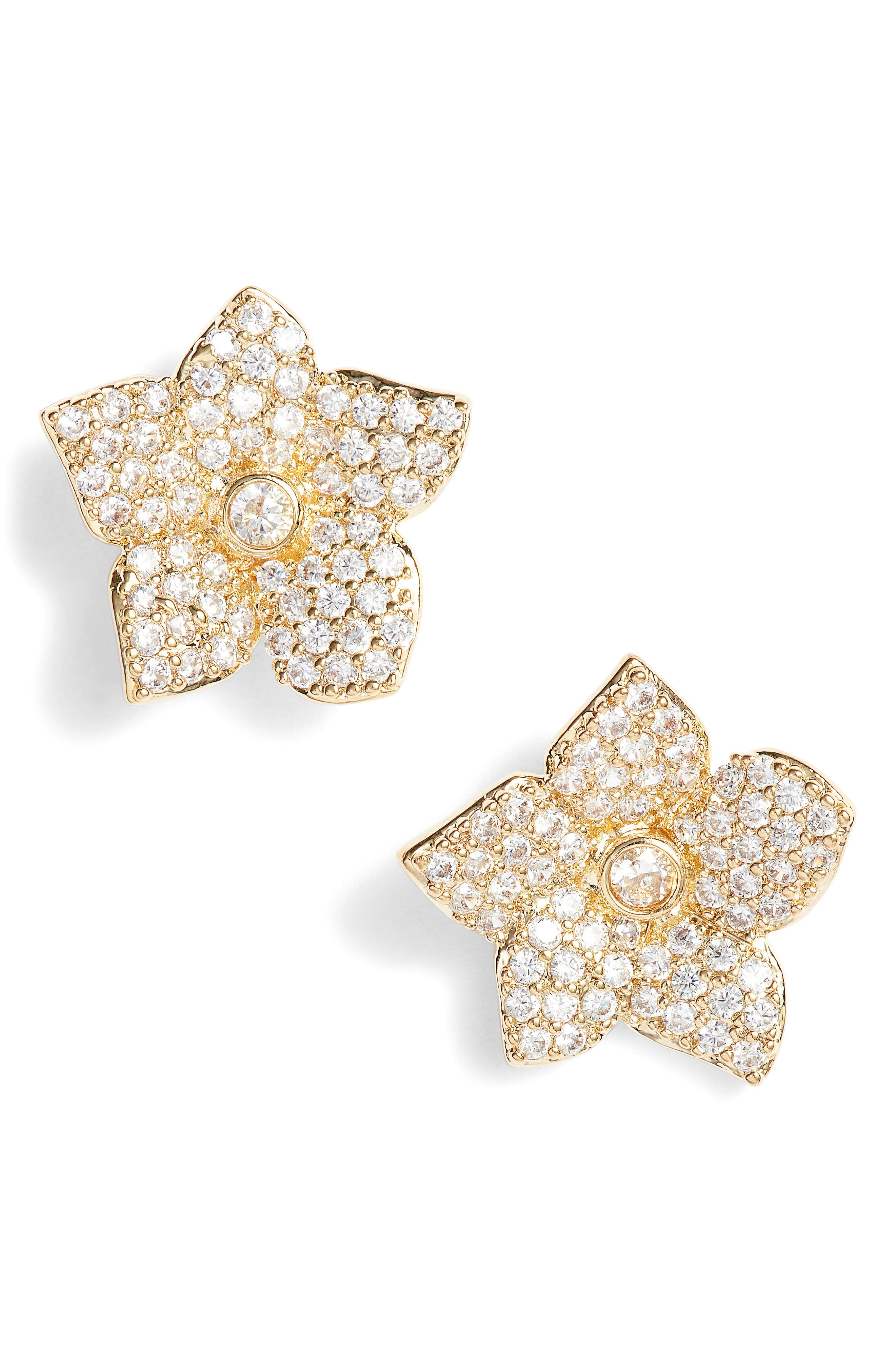 Kate Spade Blooming Pavé Stud Earrings,                             Main thumbnail 1, color,                             Gold