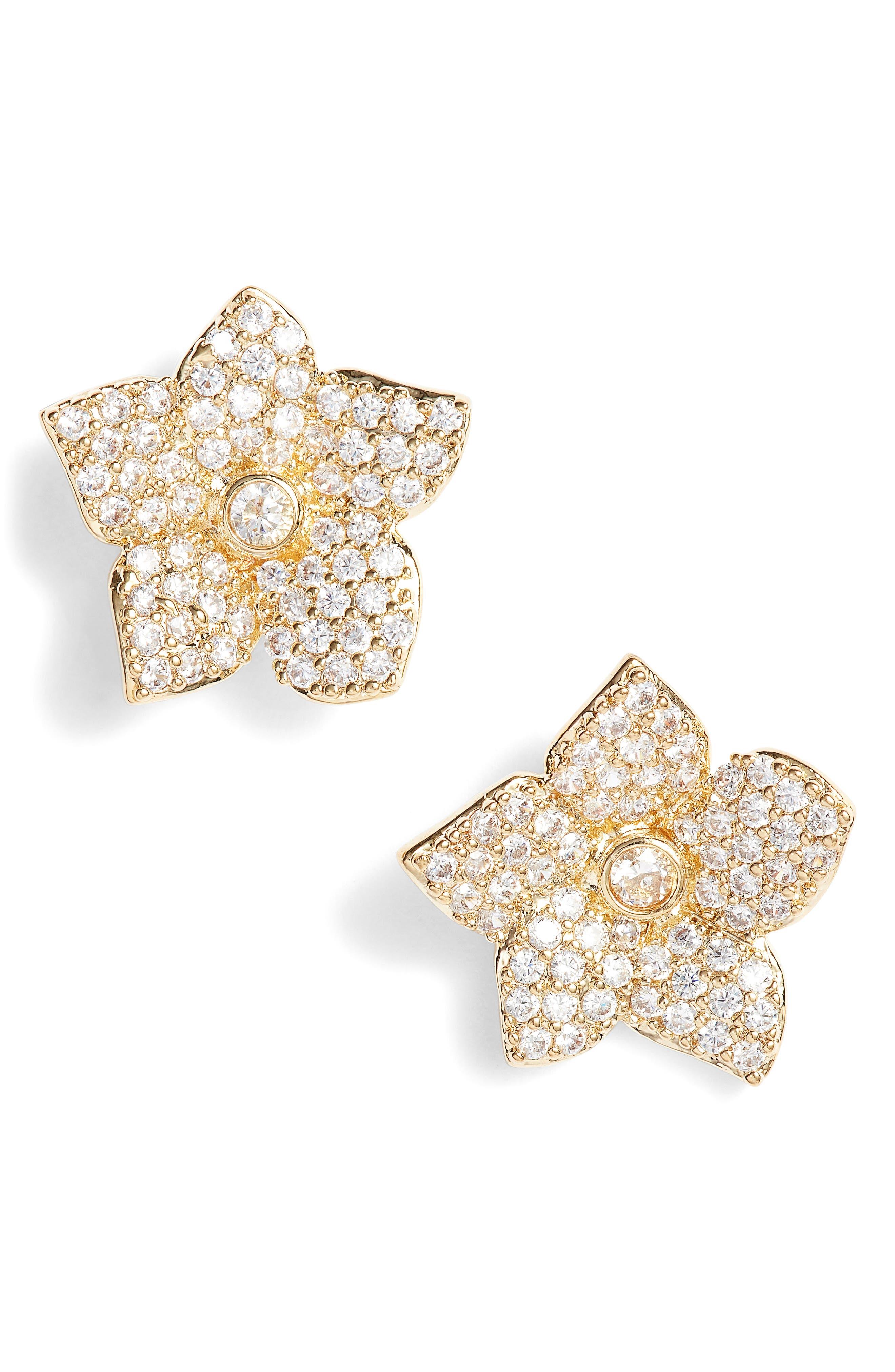 Kate Spade Blooming Pavé Stud Earrings,                         Main,                         color, Gold