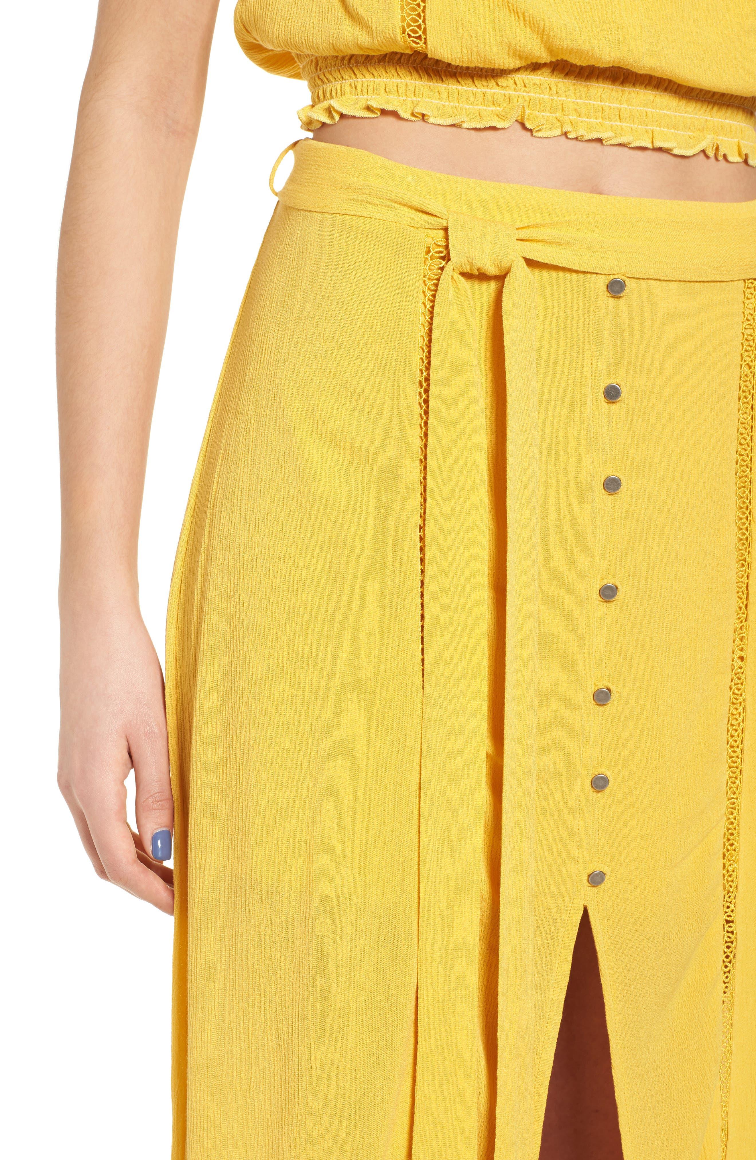 Slit Front Crochet Inset Maxi Skirt,                             Alternate thumbnail 5, color,                             Yellow Sulphur