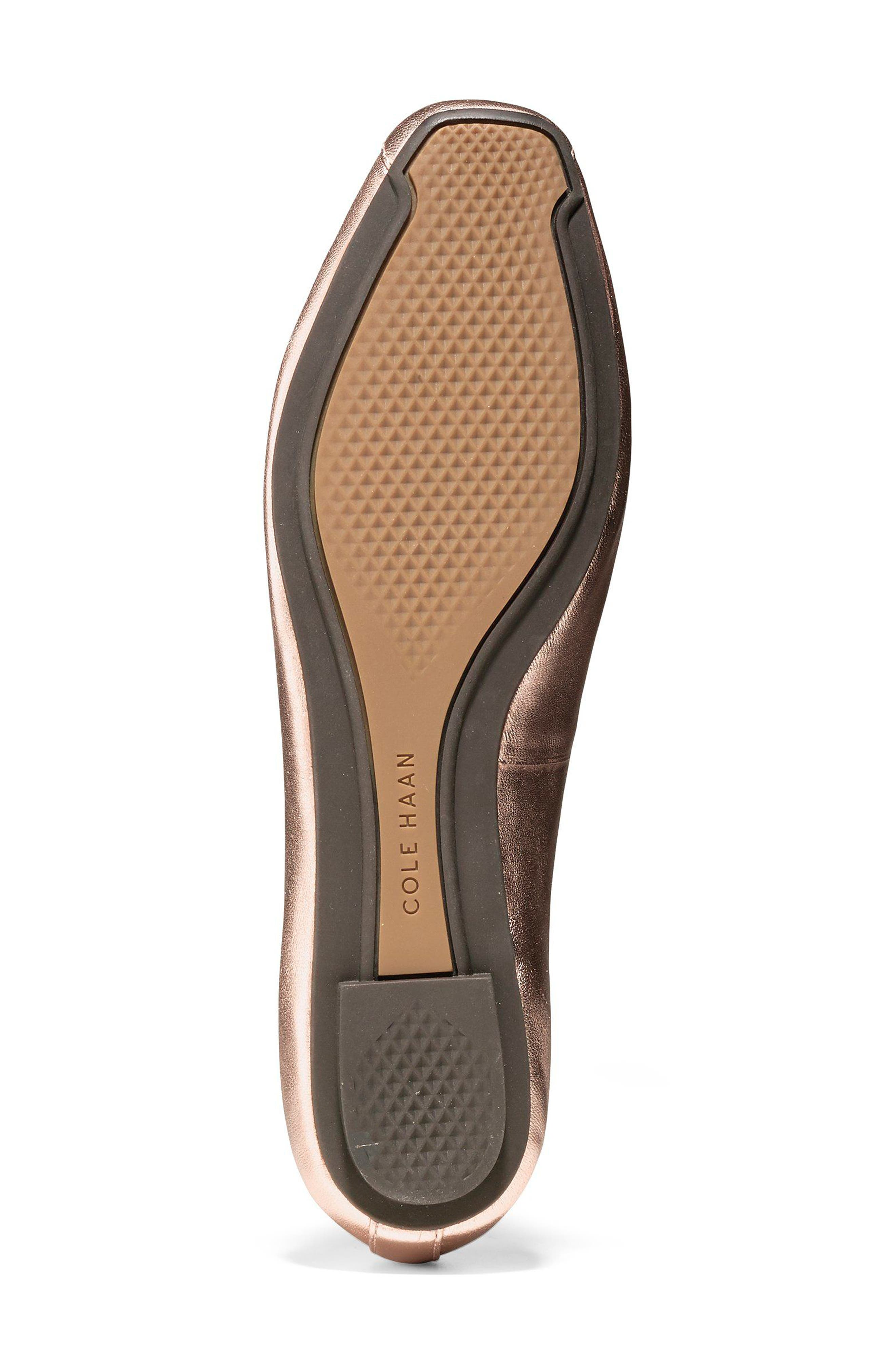 Downtown Ankle Wrap Ballet Flat,                             Alternate thumbnail 6, color,                             Rose Gold Leather
