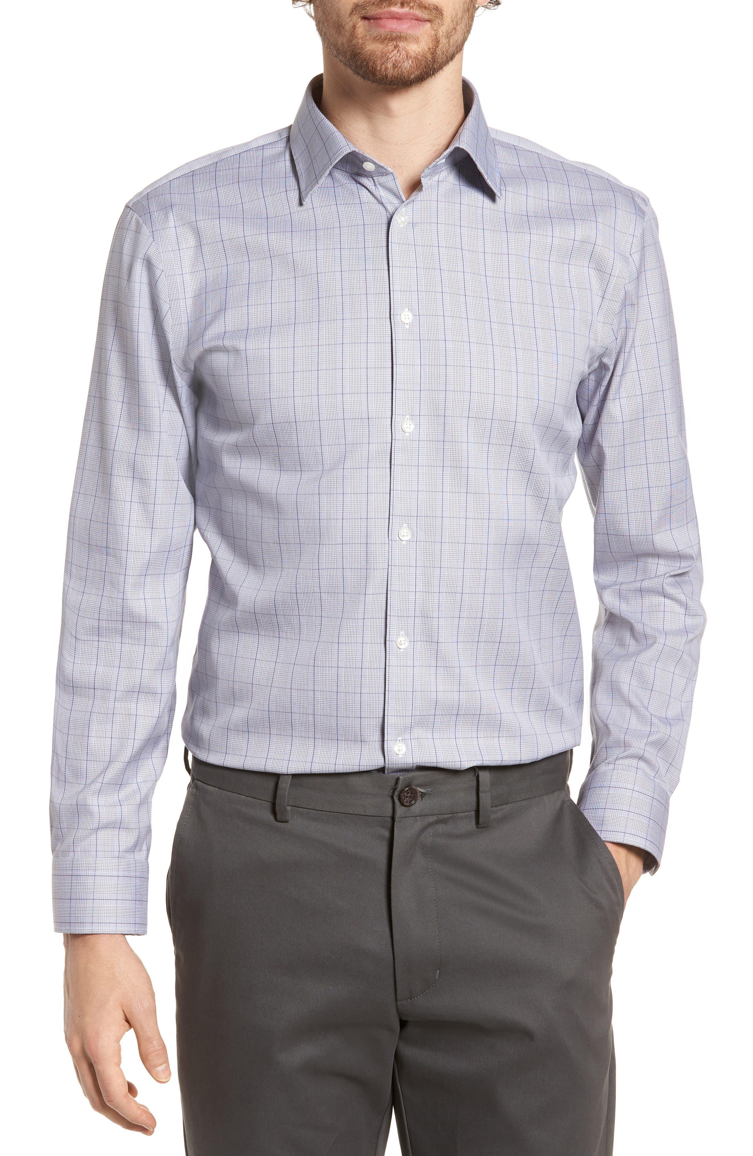 Smartcare<sup>™</sup> Extra Trim Fit Plaid Dress Shirt,                         Main,                         color, Grey Filigree