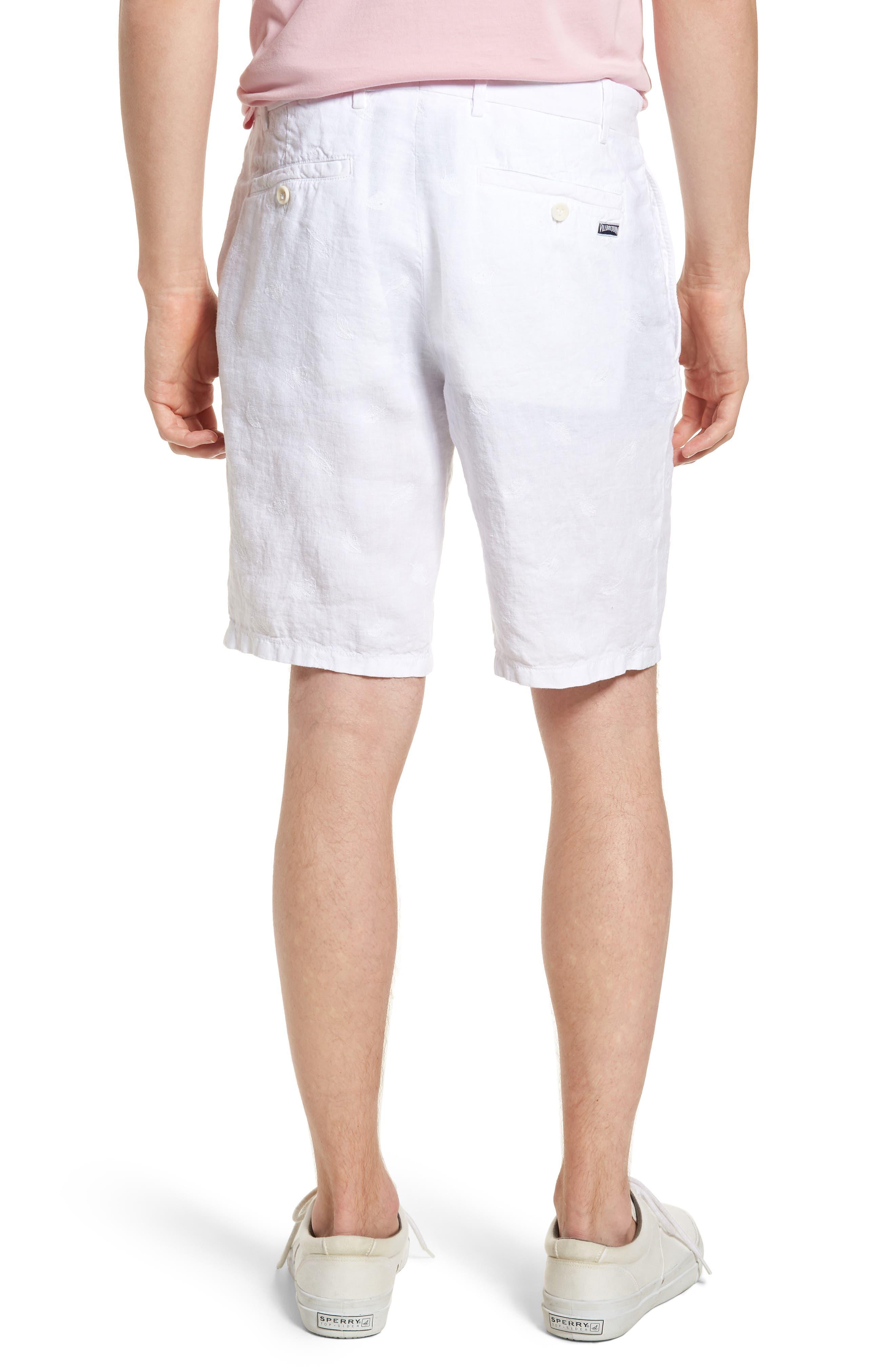 Embroidered Linen Blend Shorts,                             Alternate thumbnail 2, color,                             Blanc