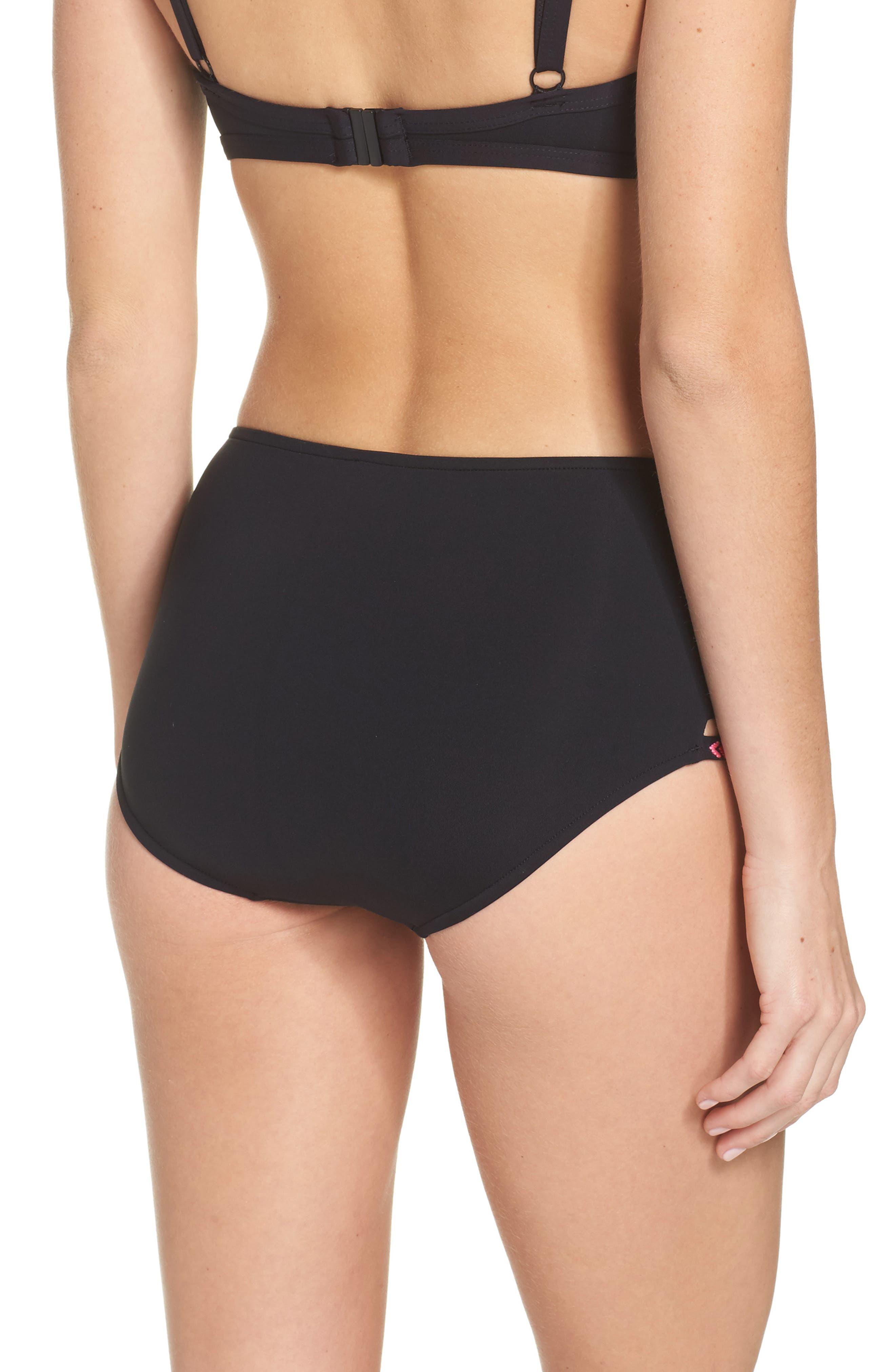 Desert Tribe High Waist Bikini Bottoms,                             Alternate thumbnail 2, color,                             Black