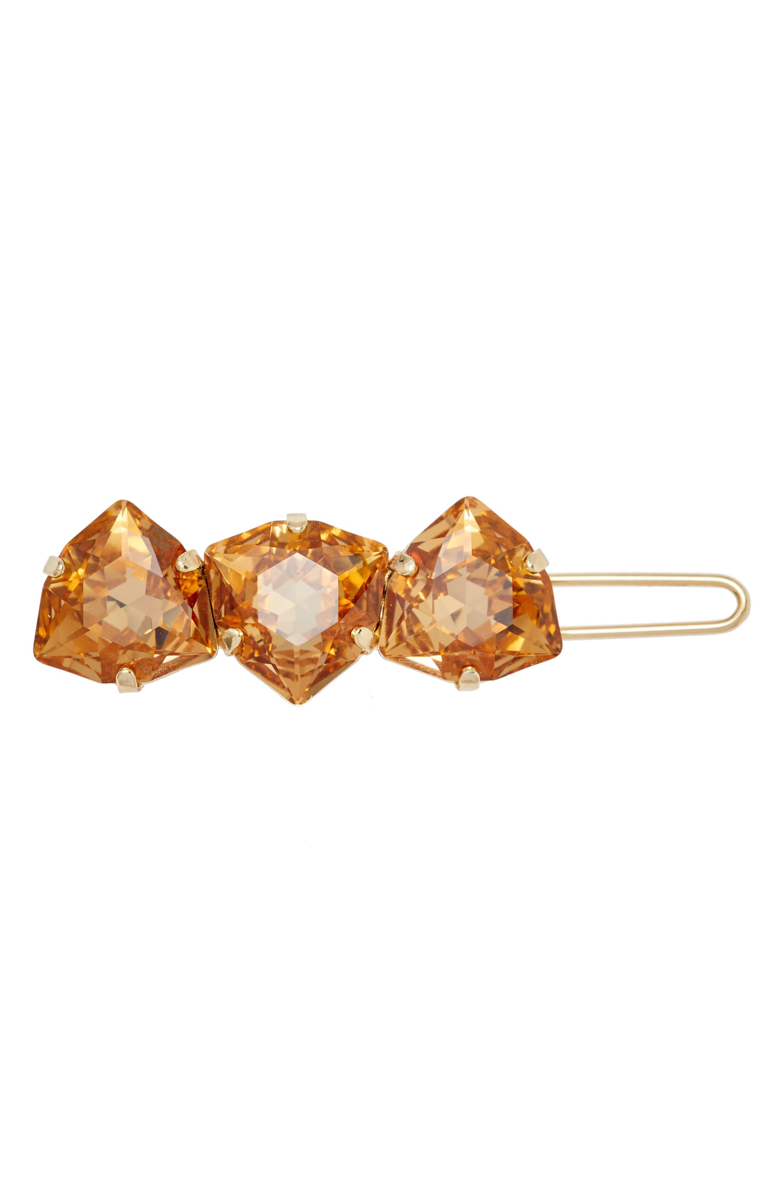 Triple Crystal Tige Boule Barrette,                         Main,                         color, Light Colorado Topaz/ Gold