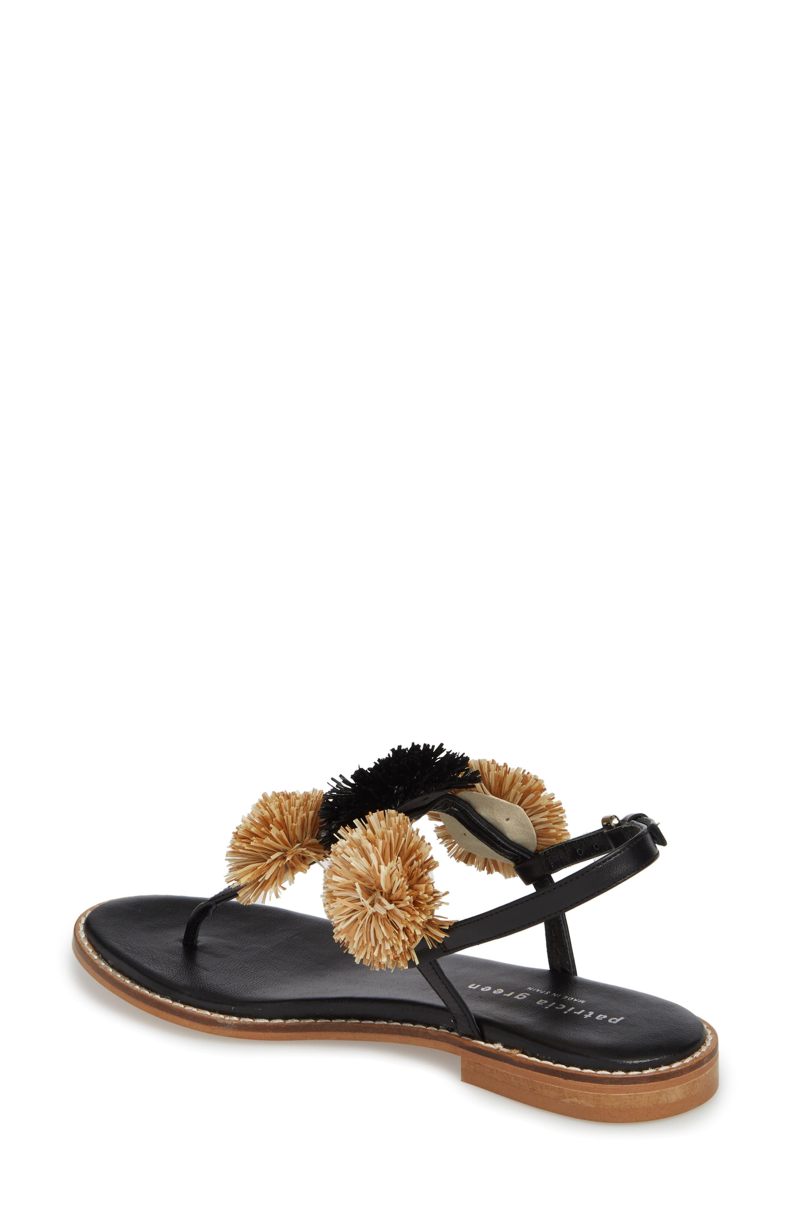 Pompom Thong Sandal,                             Alternate thumbnail 2, color,                             Black Leather