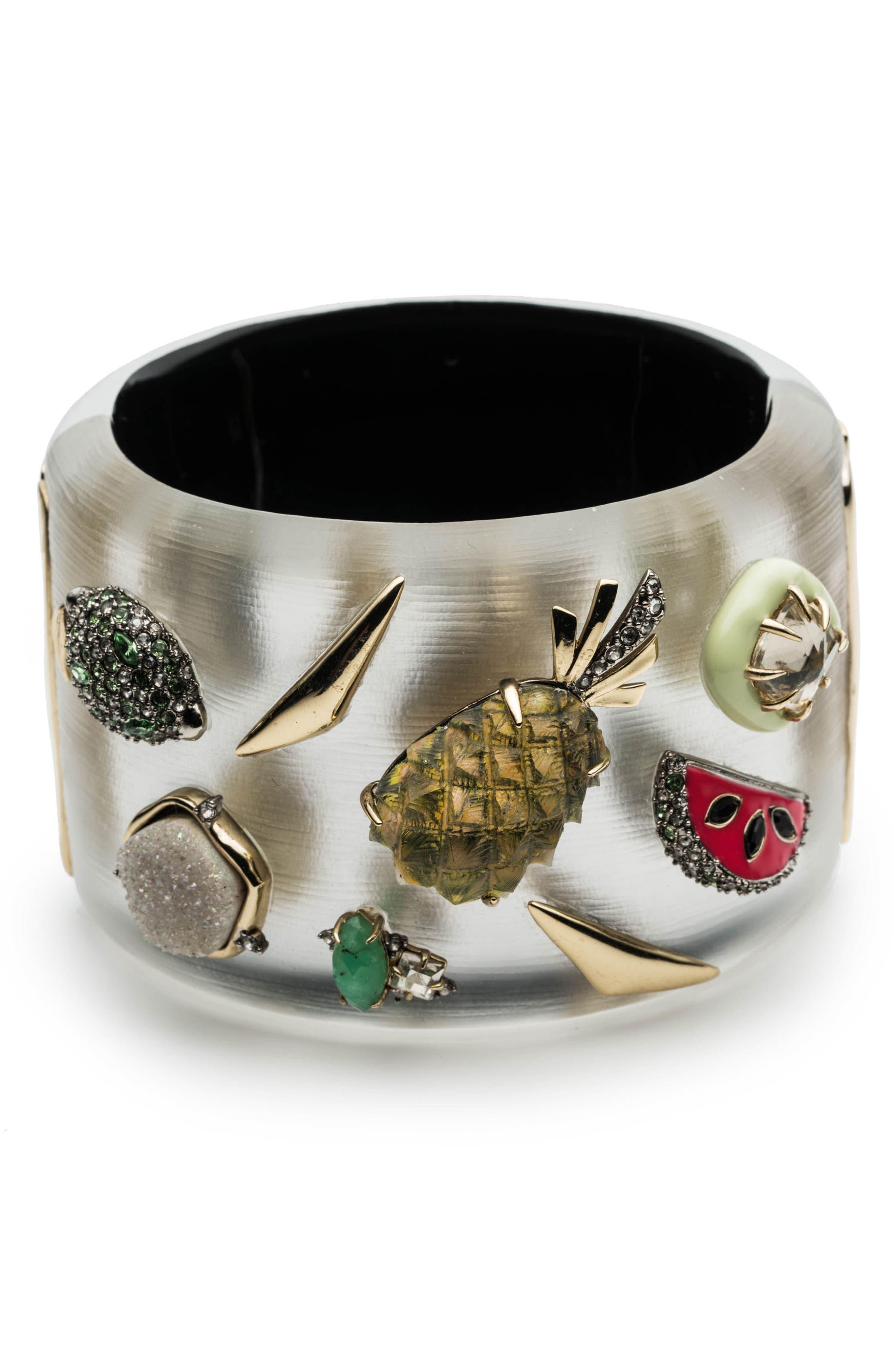 Fruit Studded Lucite<sup>®</sup> Hinge Bracelet,                             Main thumbnail 1, color,                             Silver
